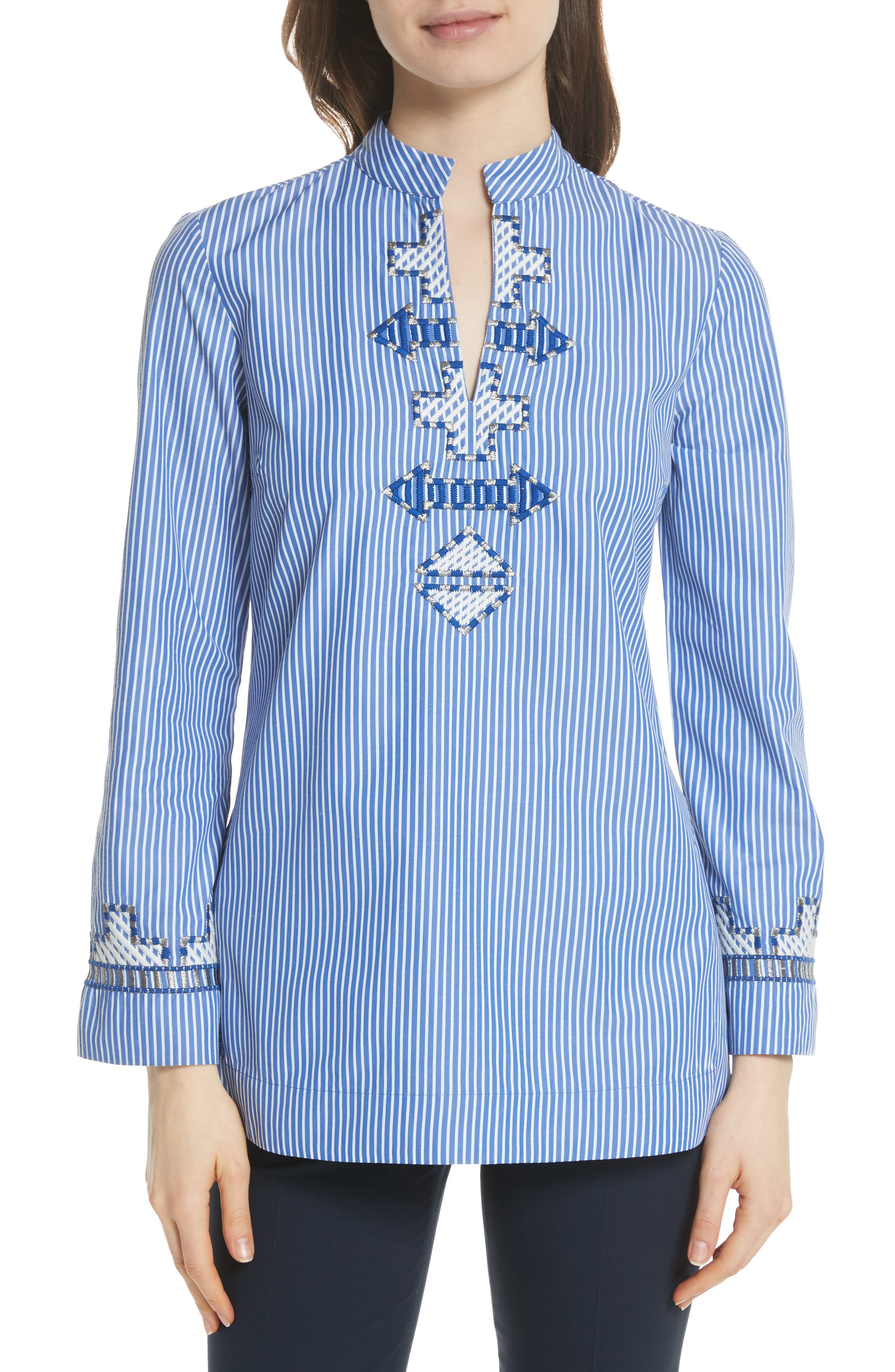 Tory Embroidered Stripe Tunic,                         Main,                         color, Blue/ White