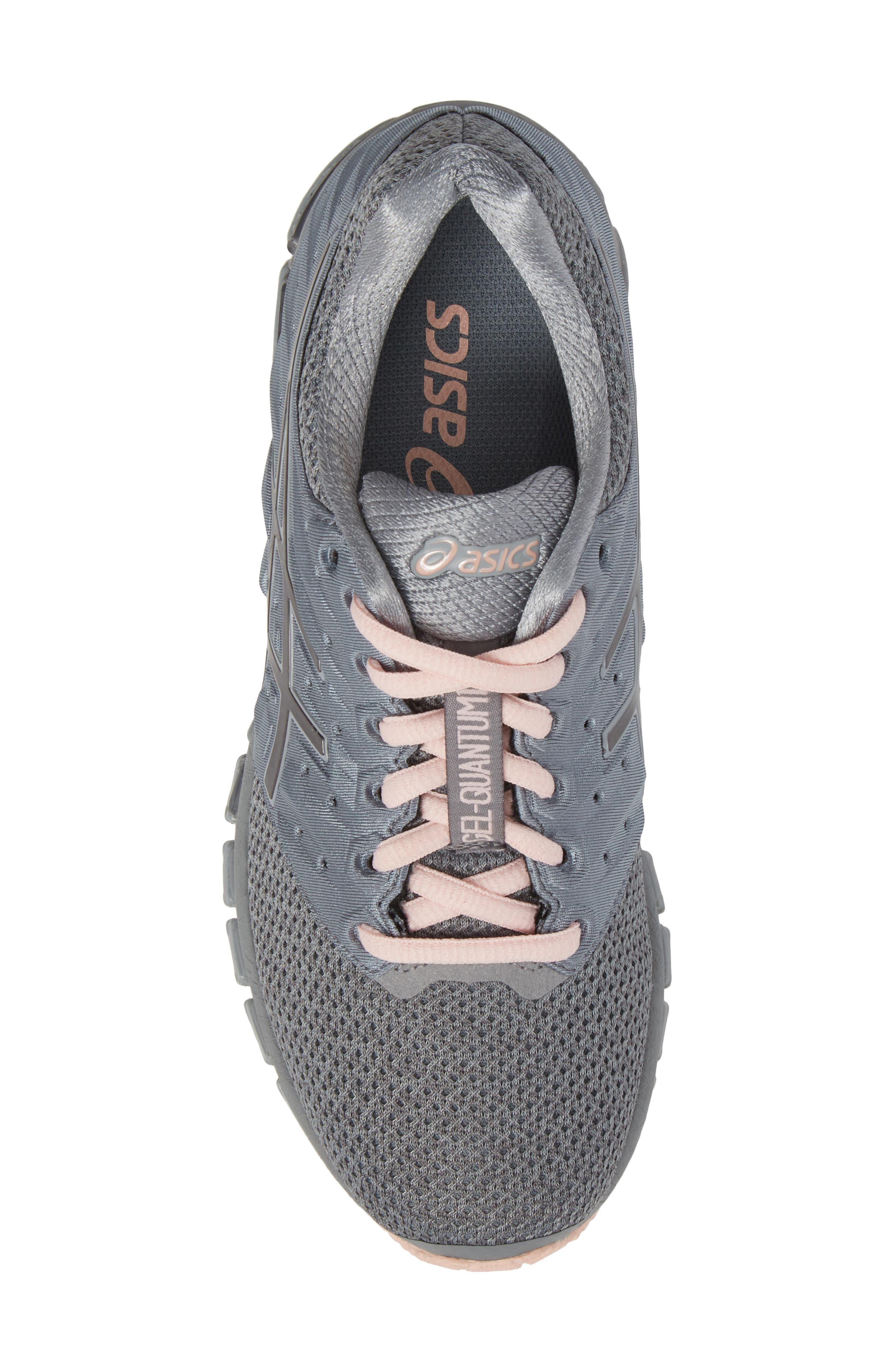 'GEL-Quantum 180 2' Running Shoe,                             Alternate thumbnail 5, color,                             Stone Grey/ Carbon/ Pink