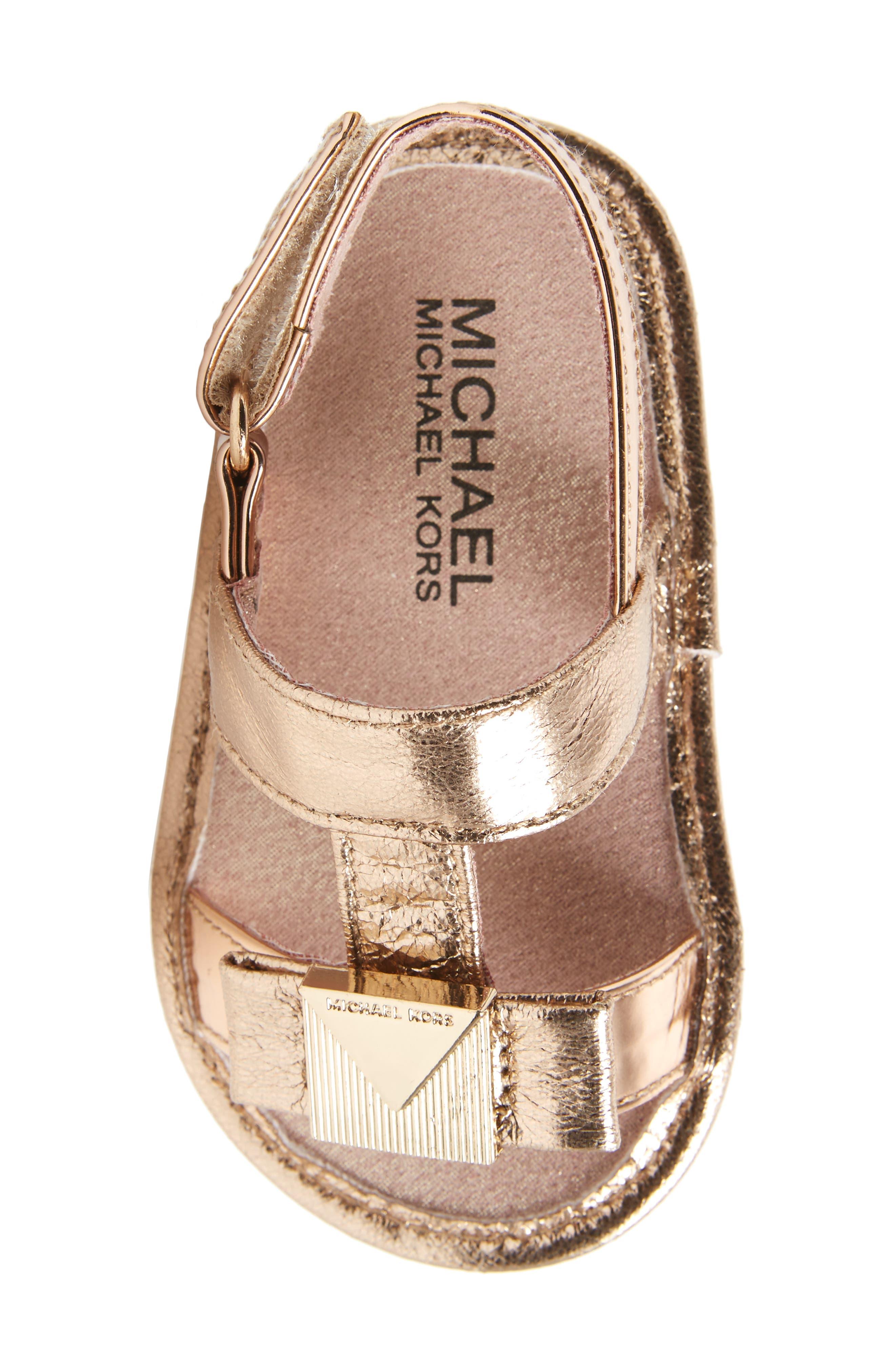 Baby Sugar Metallic Sandal,                             Alternate thumbnail 5, color,                             Rose Gold