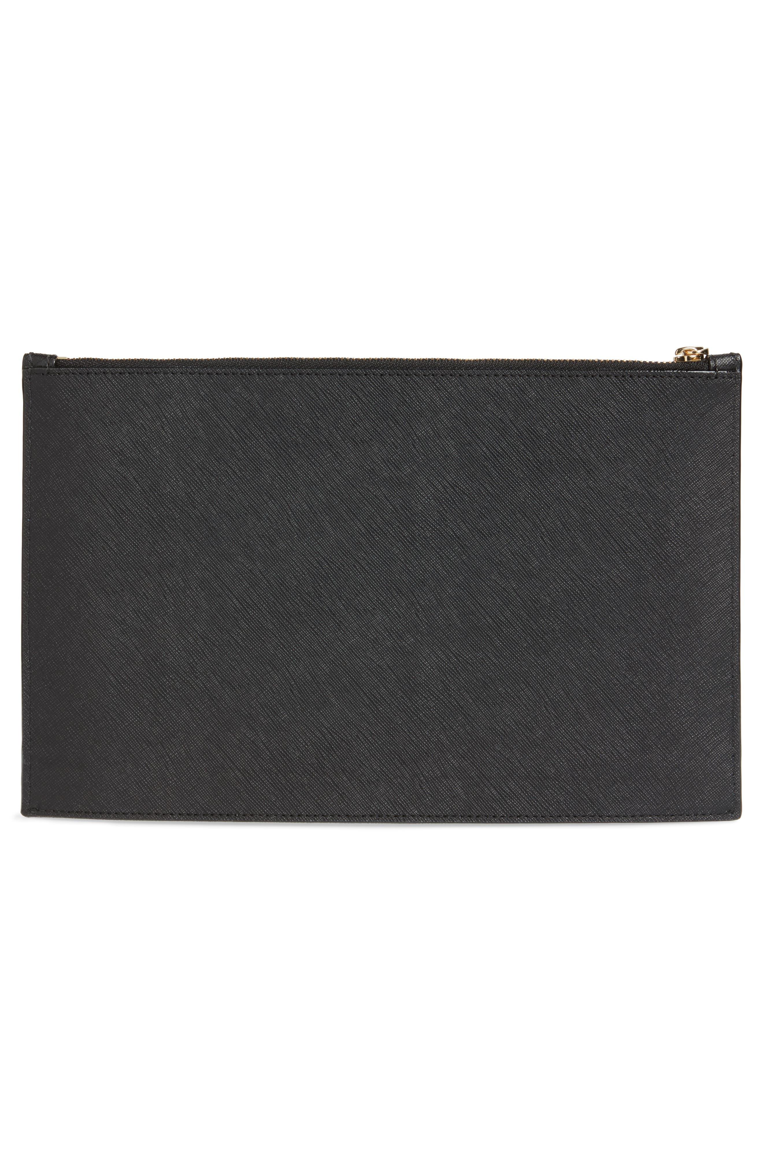 cameron street lilia leather clutch,                             Alternate thumbnail 3, color,                             Black
