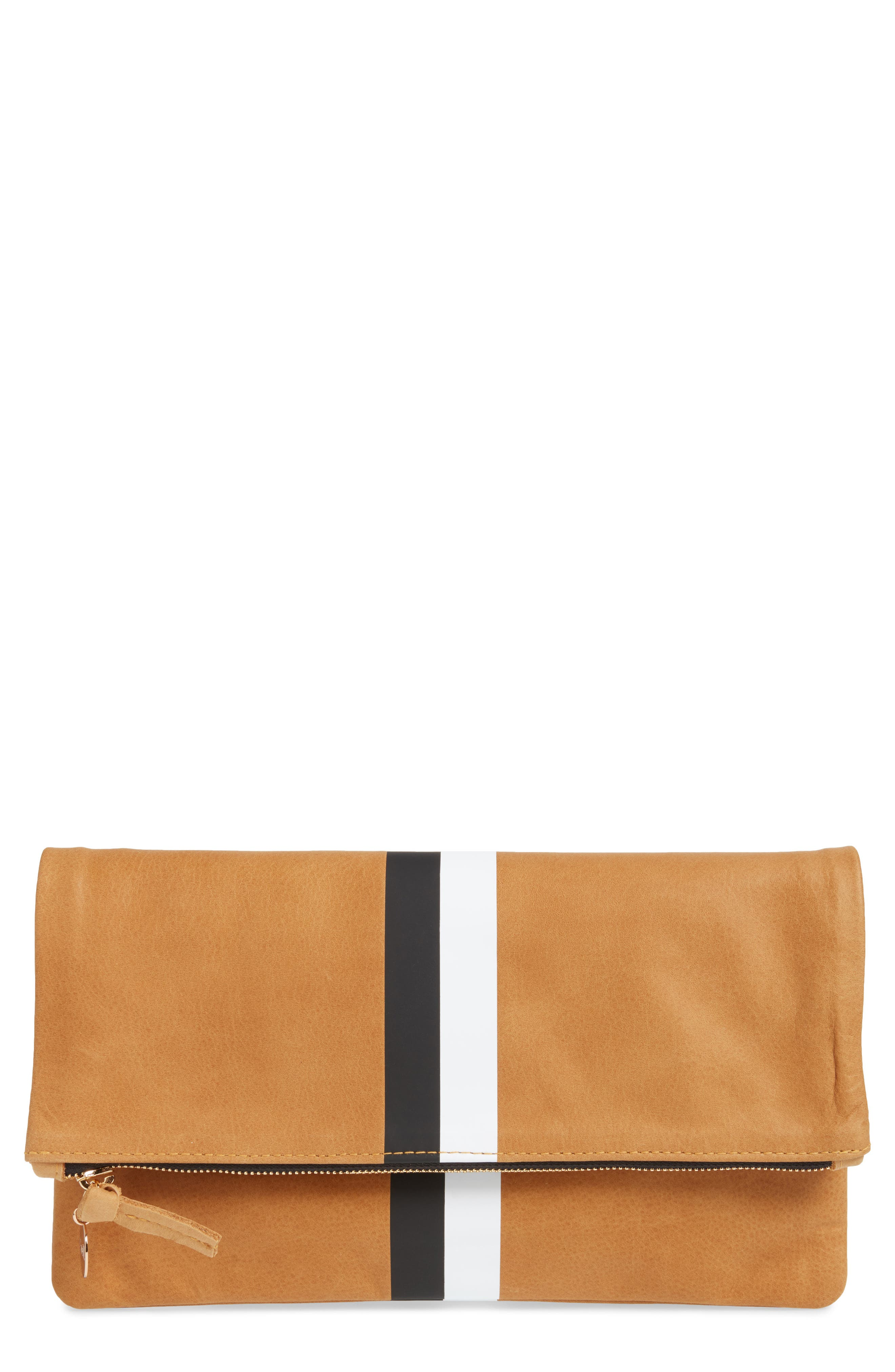 Center Stripe Leather Foldover Clutch,                             Main thumbnail 1, color,                             Nubuck Blck Whte Stripe