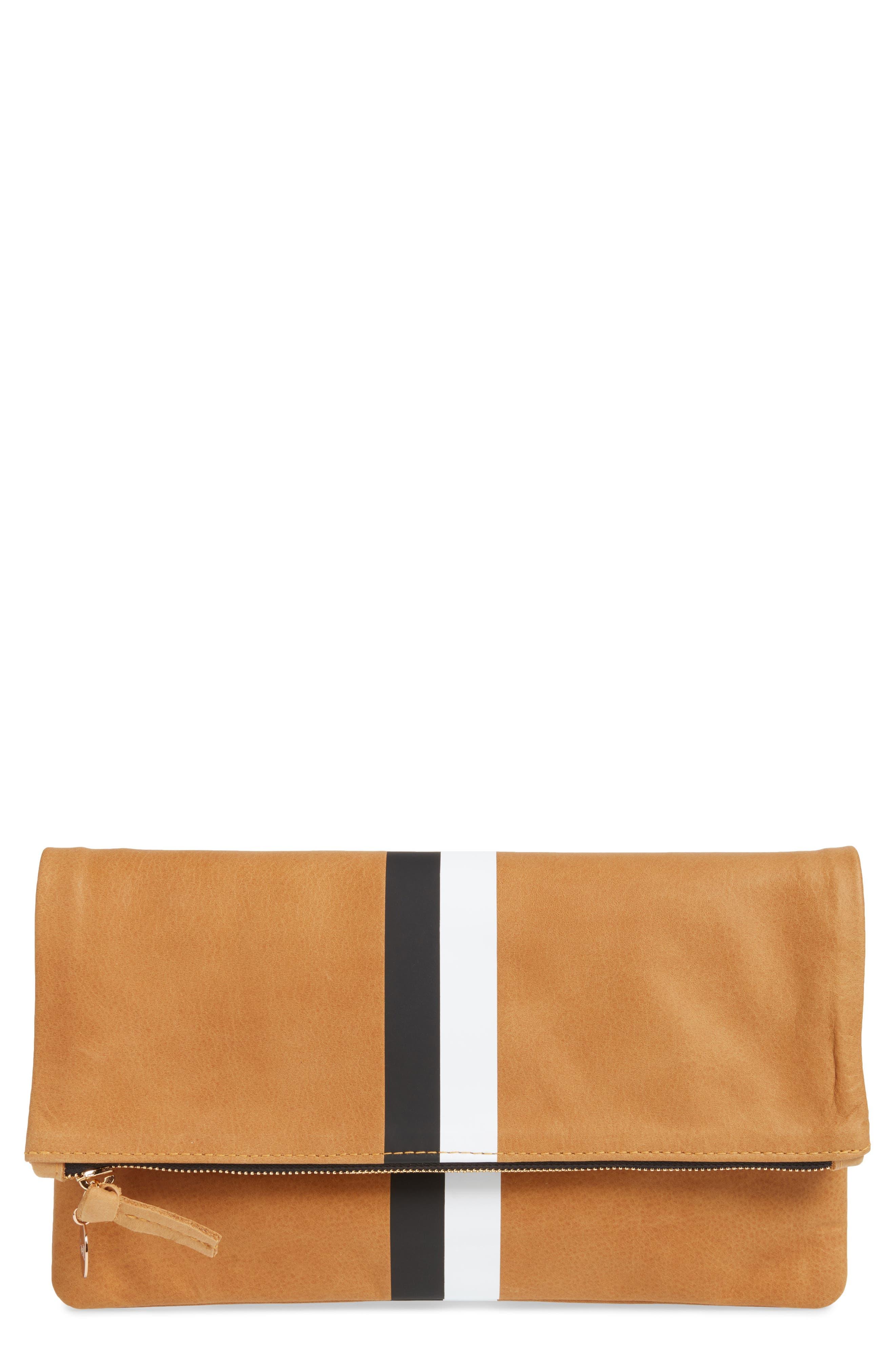 Center Stripe Leather Foldover Clutch,                         Main,                         color, Nubuck Blck Whte Stripe