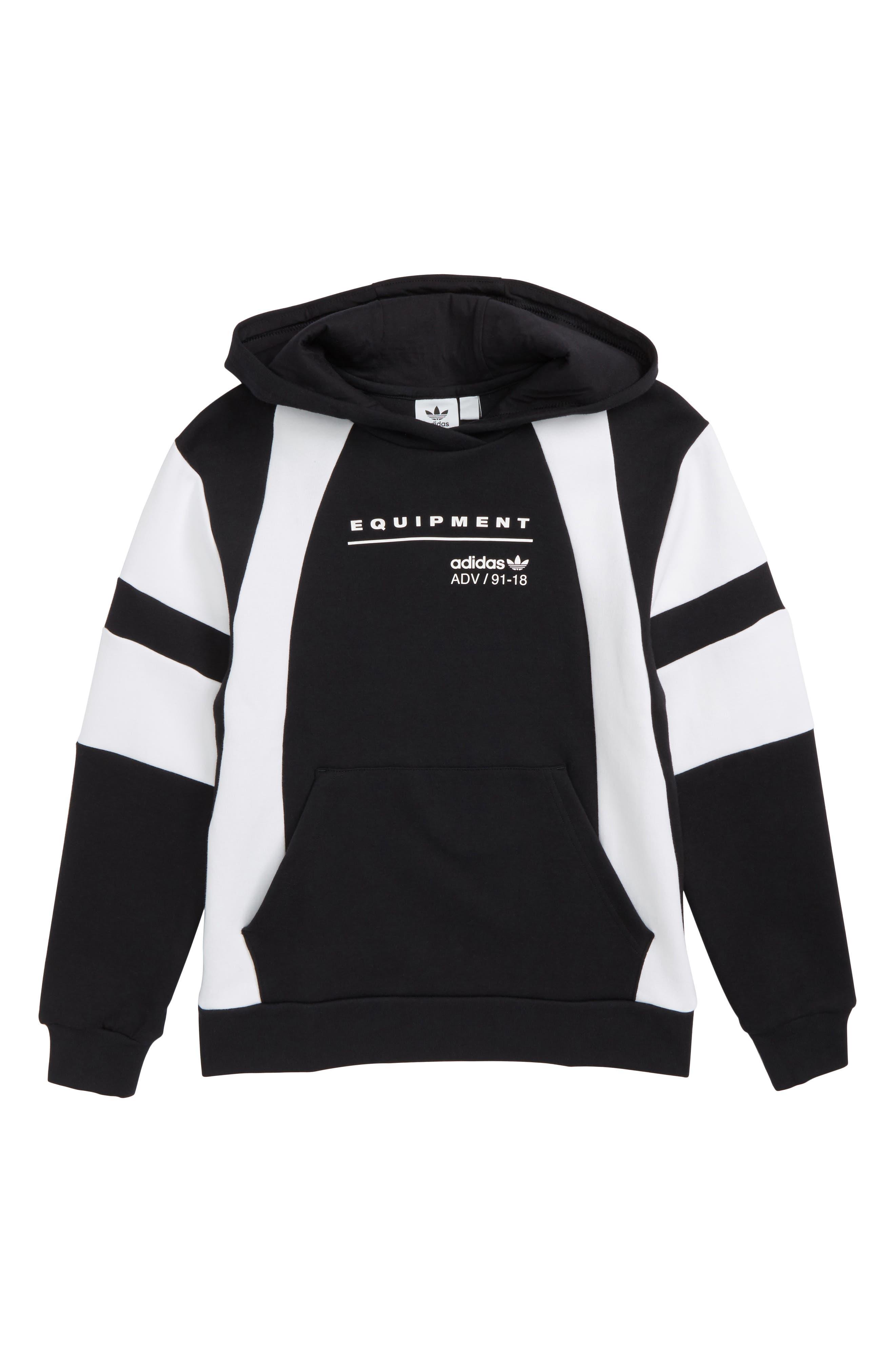 adidas J EQT Hoodie,                         Main,                         color, Black / White
