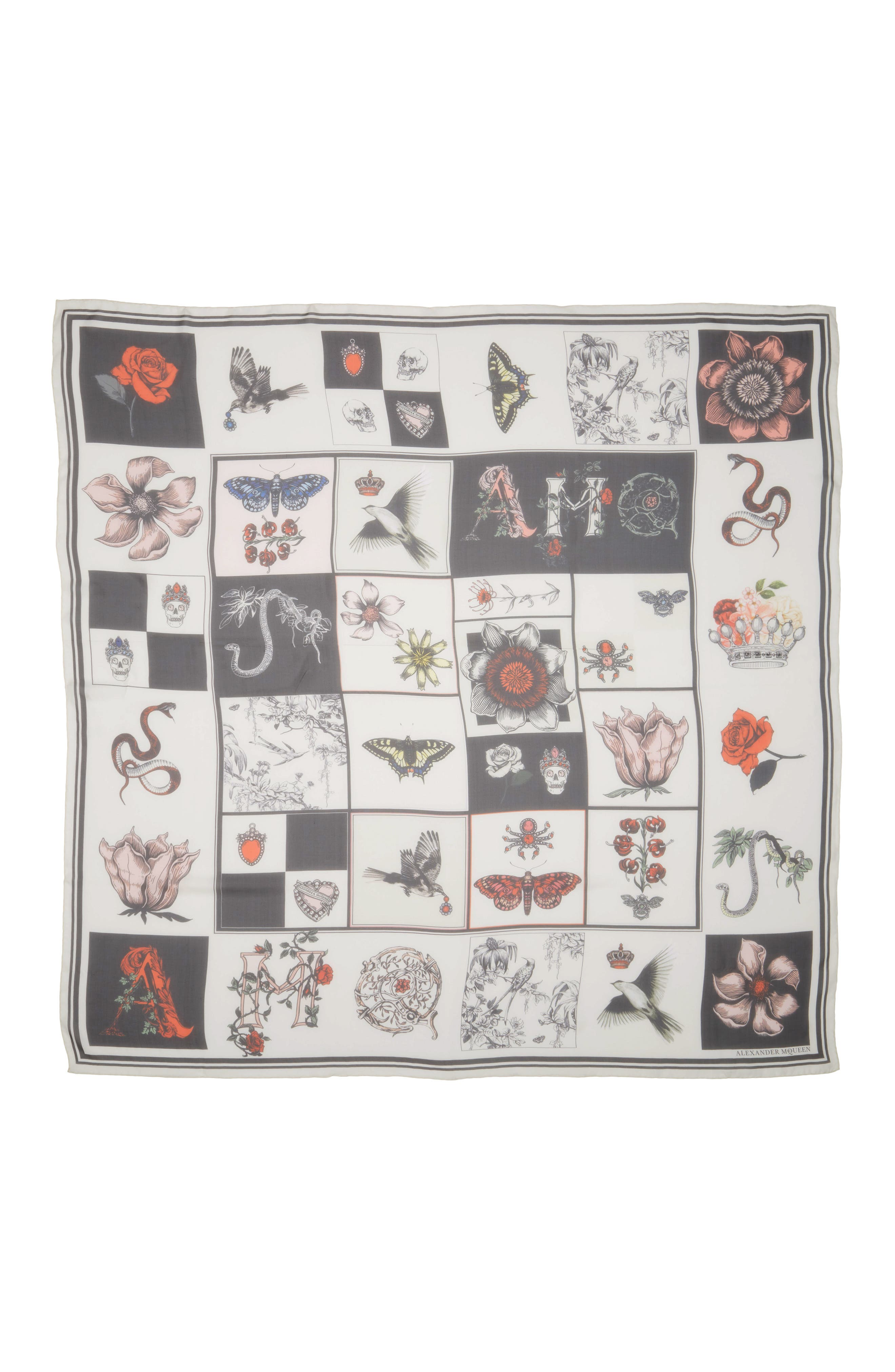 Patch Print Silk Shawl Scarf,                             Main thumbnail 1, color,                             Ivory/ Black