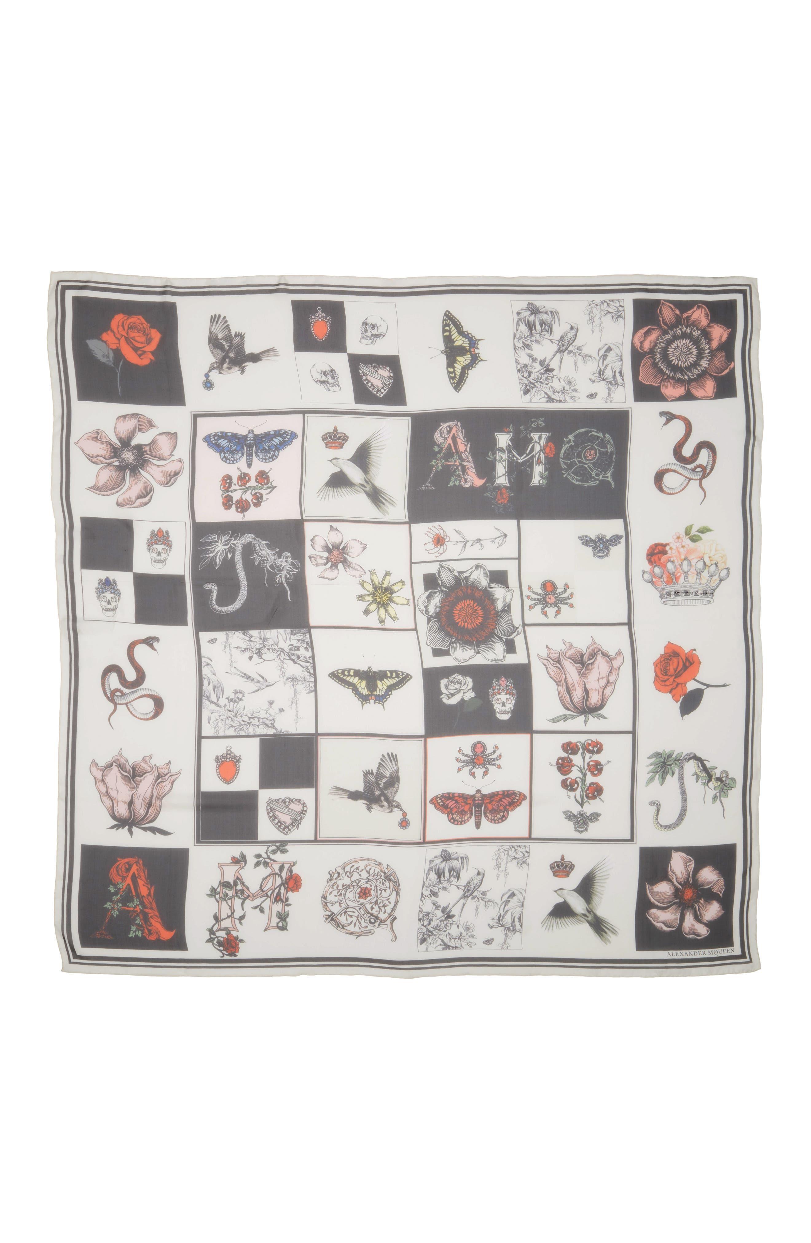 Alexander McQueen Patch Print Silk Shawl Scarf