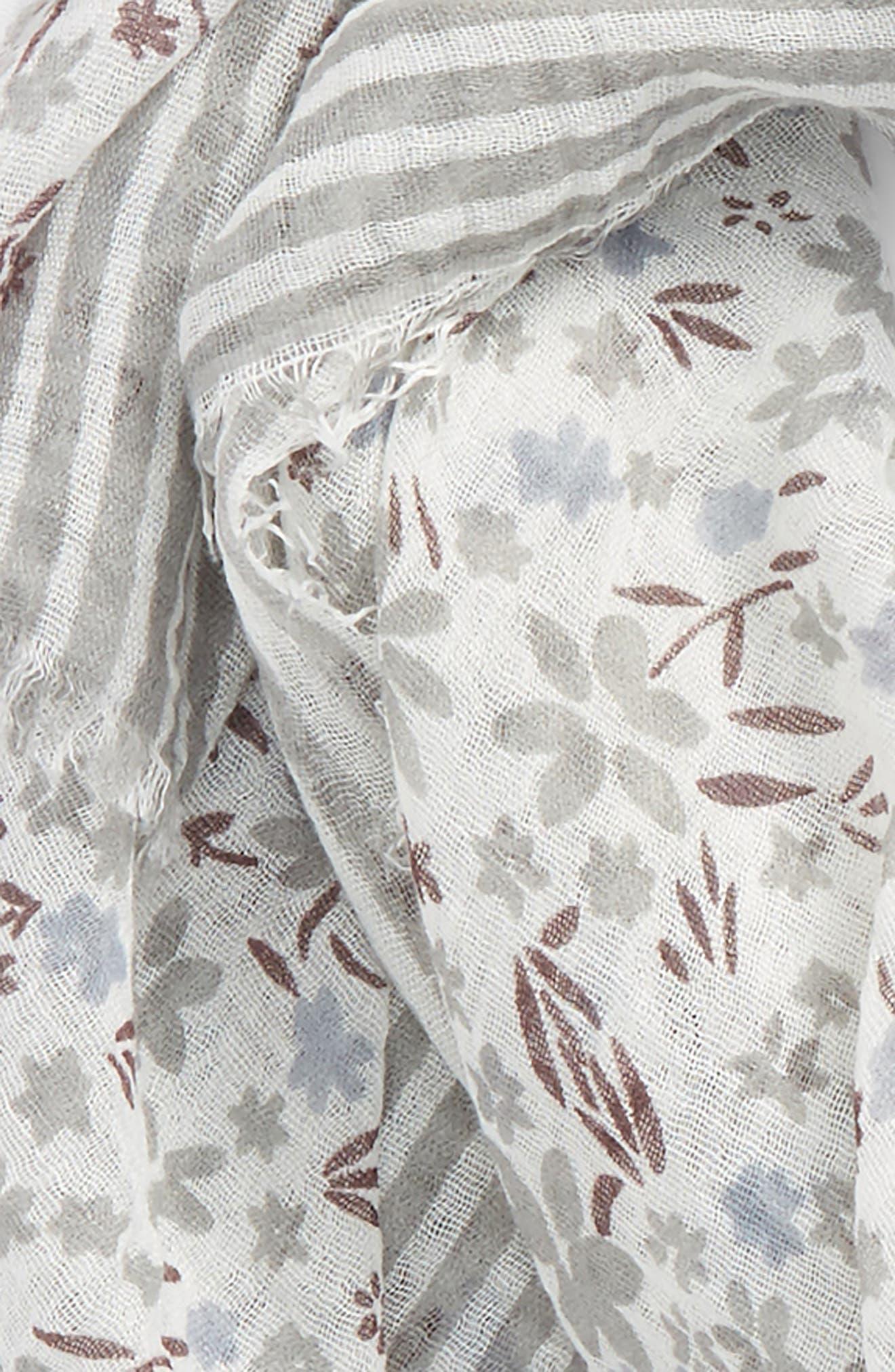 Floral Stripe Scarf,                             Alternate thumbnail 3, color,                             Denim