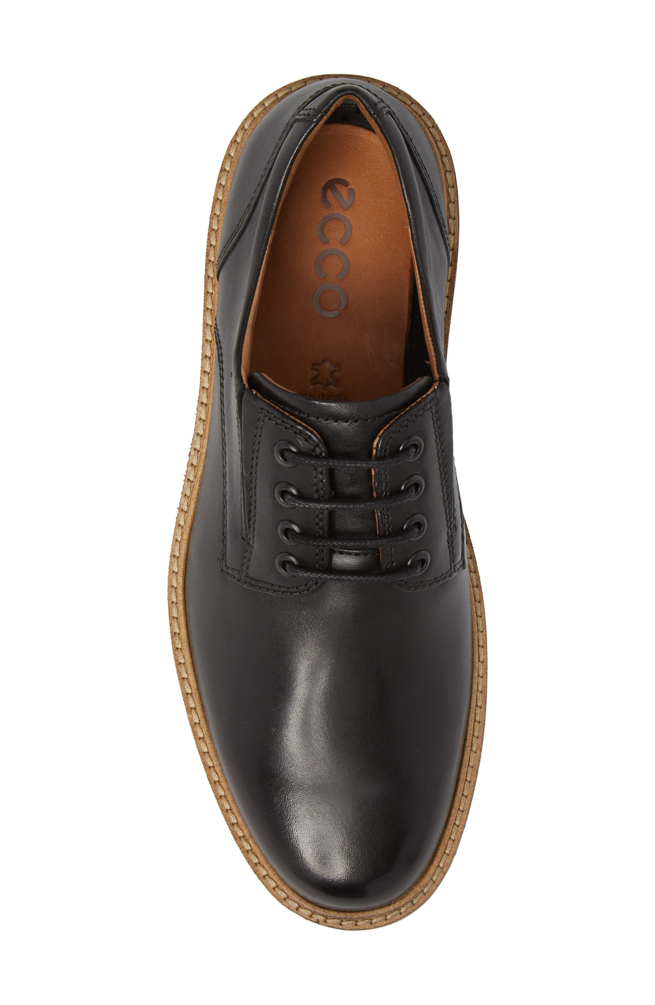 Ian Casual Plain Toe Derby,                             Alternate thumbnail 5, color,                             Black Leather