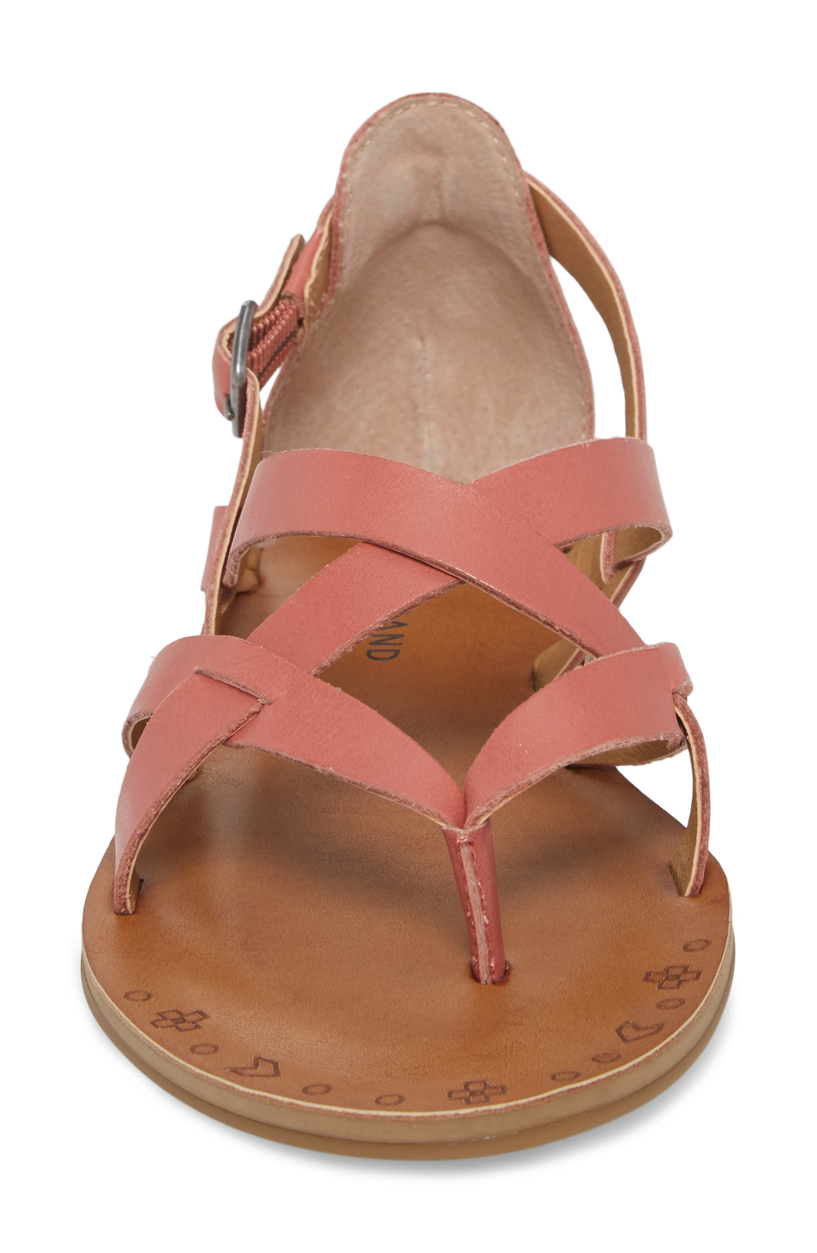Ainsley Flat Sandal,                             Alternate thumbnail 4, color,                             Canyon Rose Leather