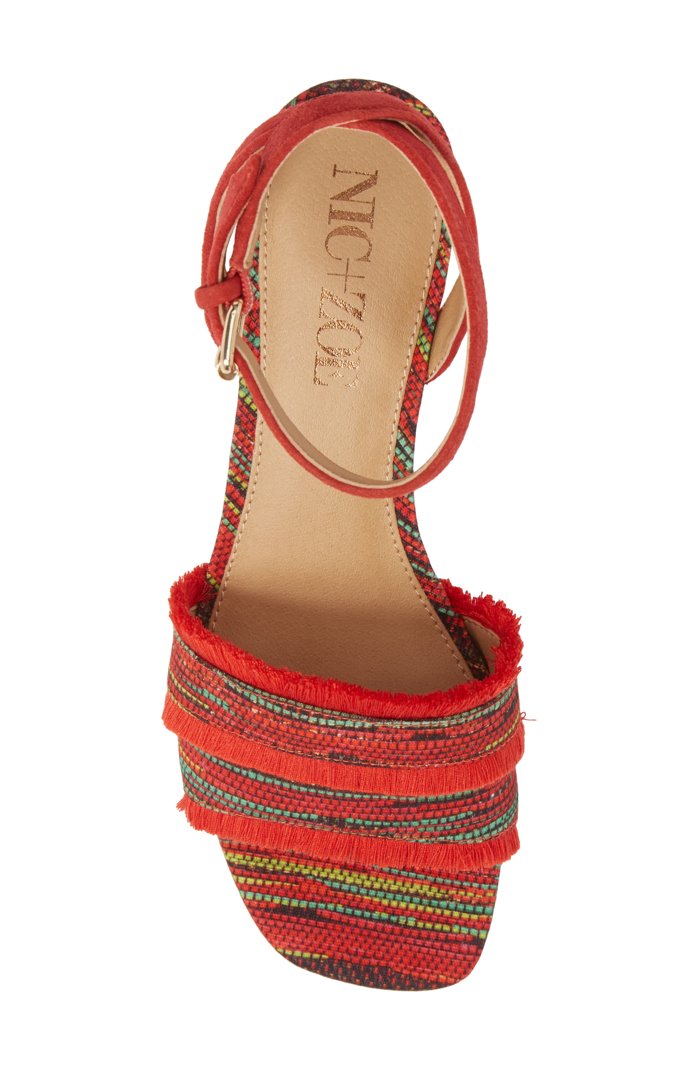 Zaria Fringed Sandal,                             Alternate thumbnail 5, color,                             Red Multi Fabric