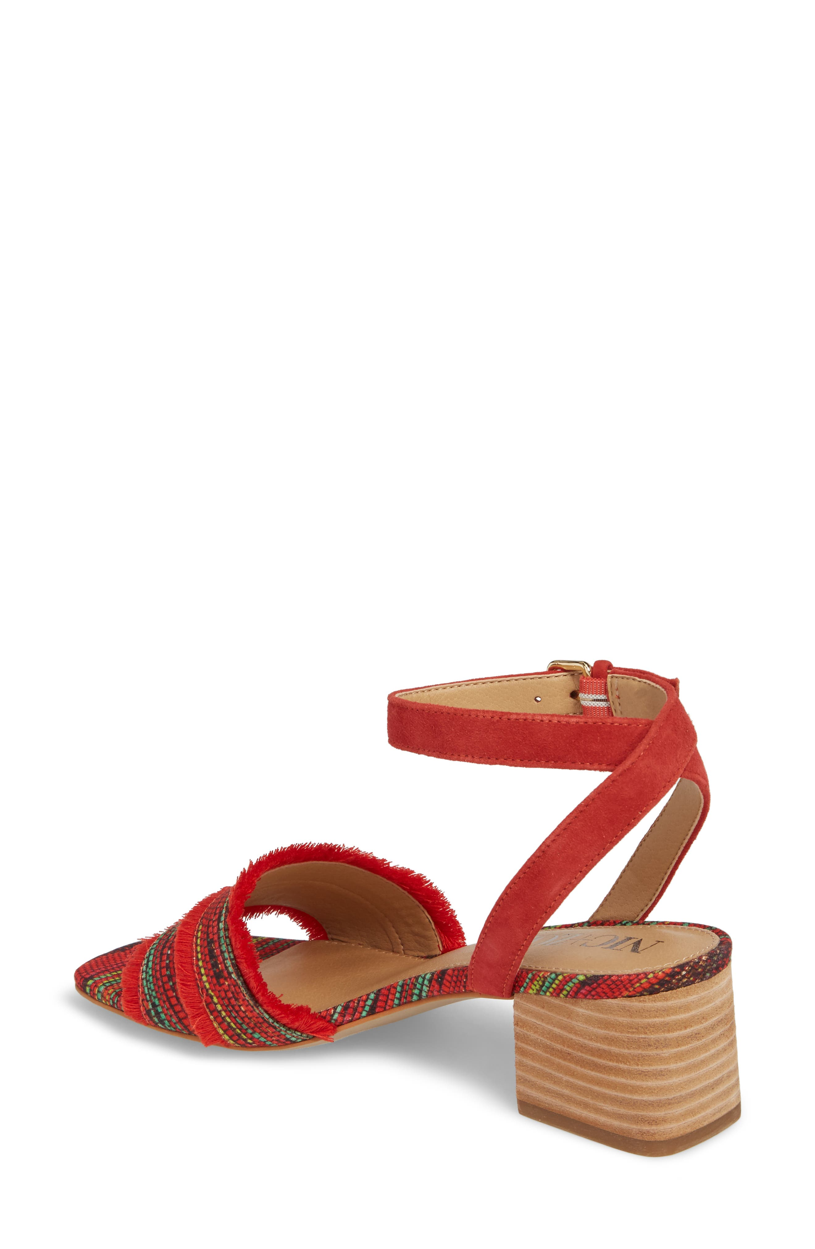 Zaria Fringed Sandal,                             Alternate thumbnail 2, color,                             Red Multi Fabric