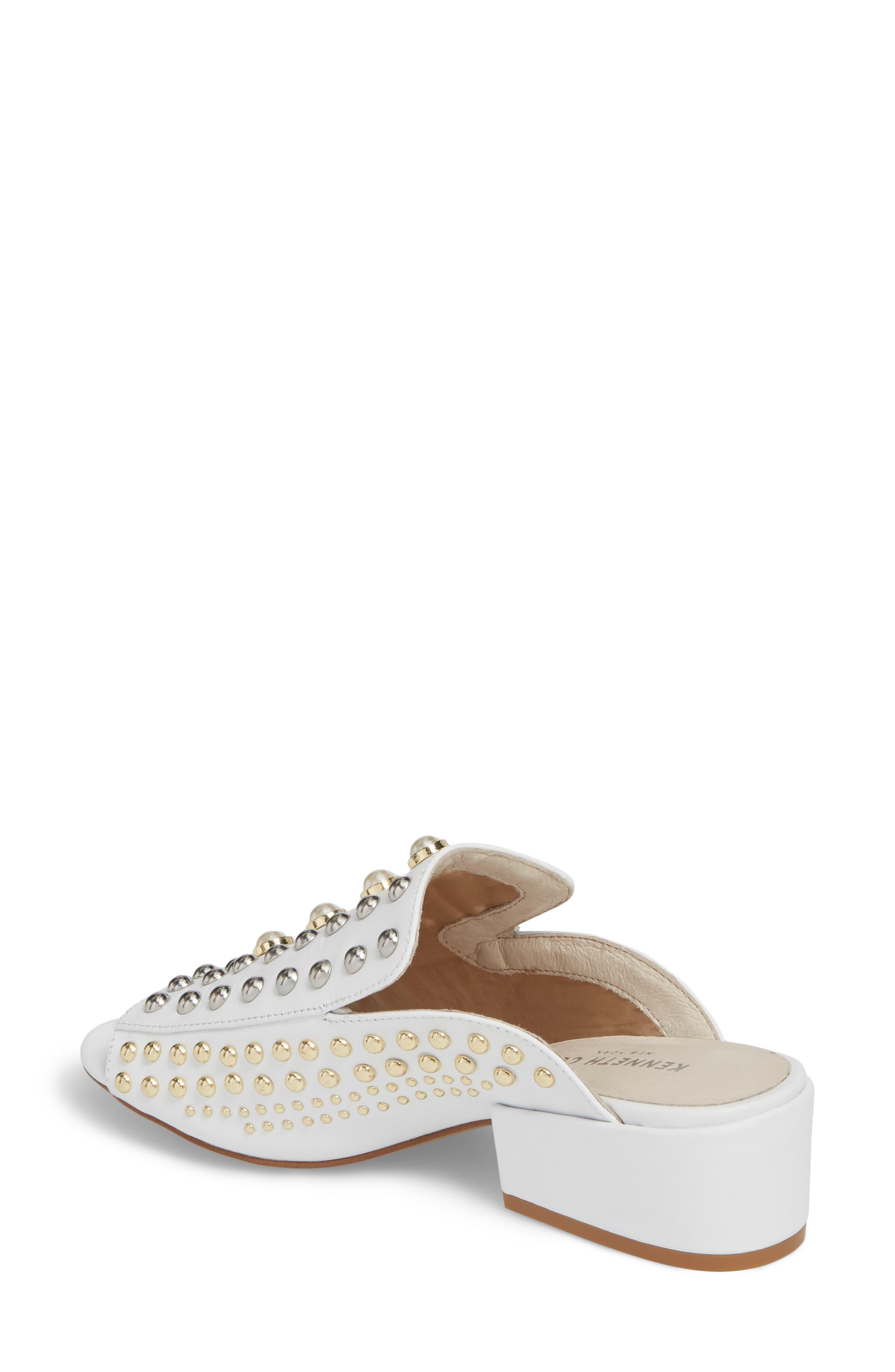 Farley Studded Slide Sandal,                             Alternate thumbnail 2, color,                             White Leather