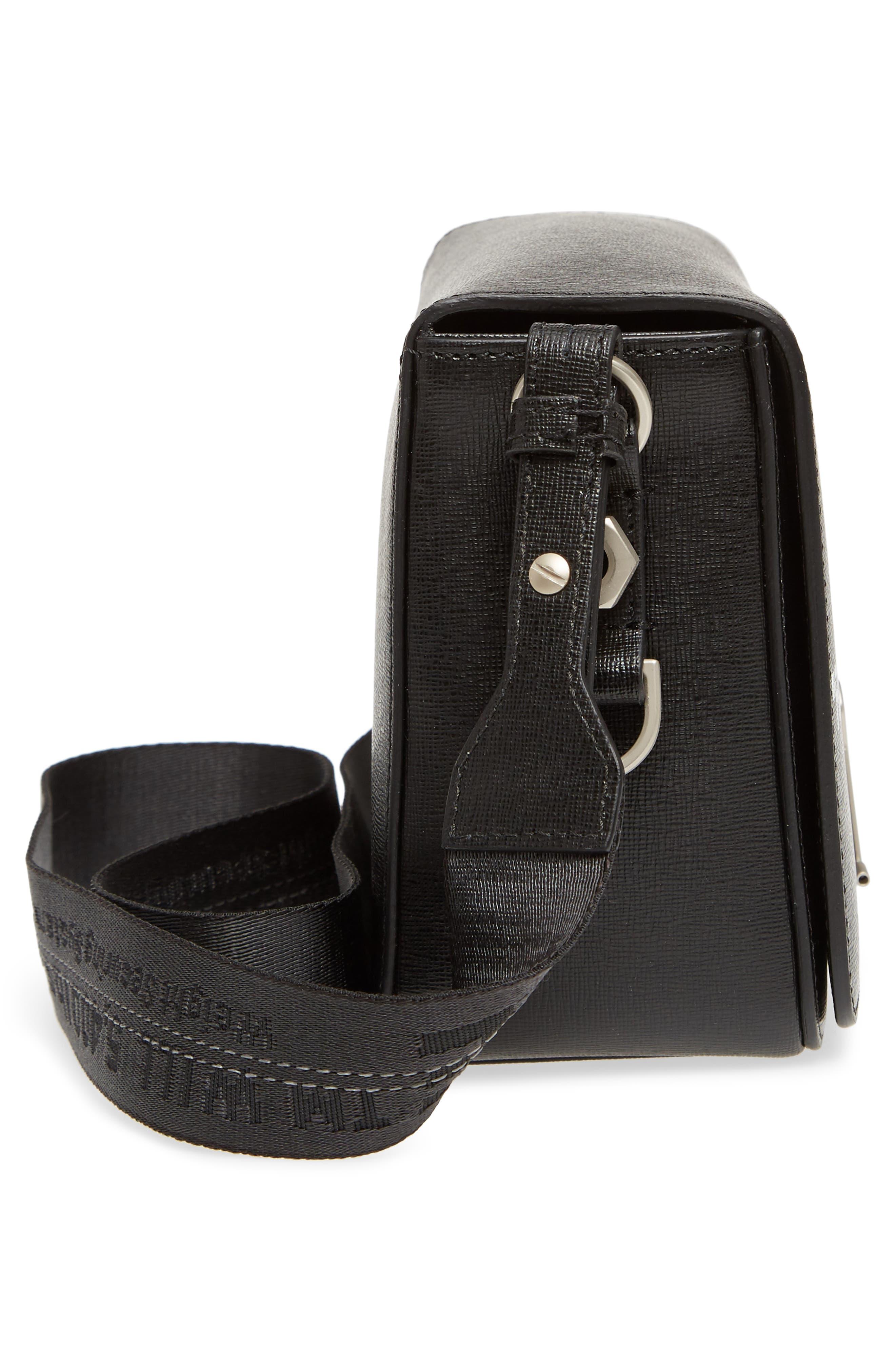 Virgil Was Here Binder Clip Leather Shoulder Bag,                             Alternate thumbnail 6, color,                             Black White