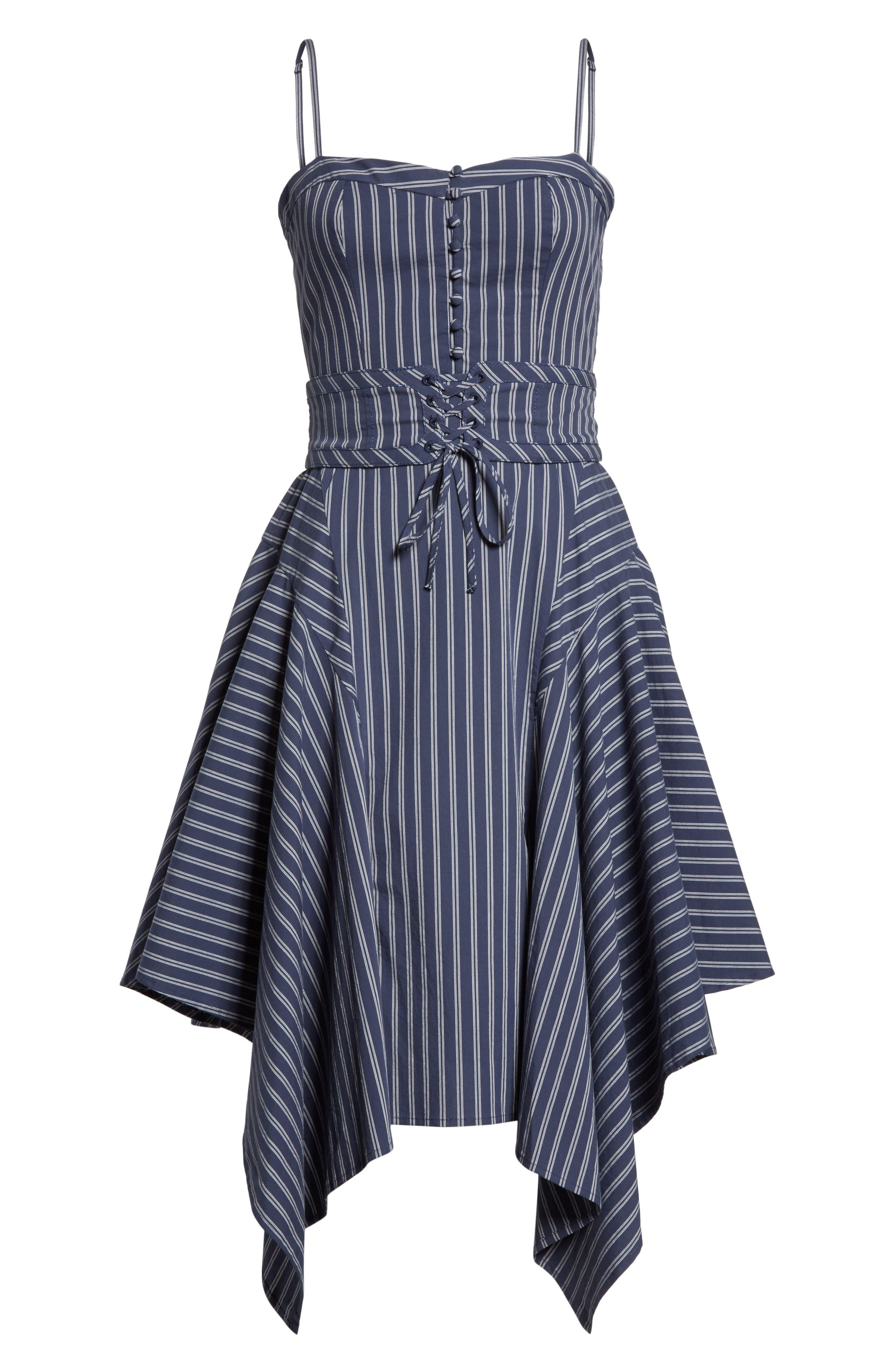Ronit Fit & Flare Dress,                             Alternate thumbnail 6, color,                             Dark Navy