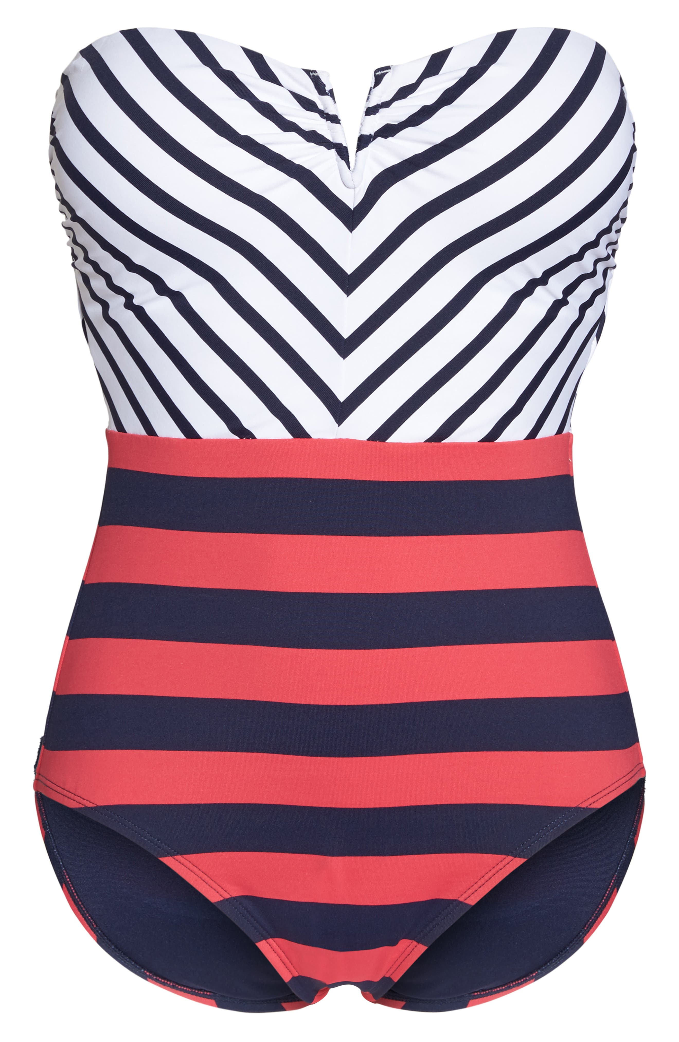 Channel Surfing Strapless One-Piece Swimsuit,                             Alternate thumbnail 6, color,                             Mare Blue