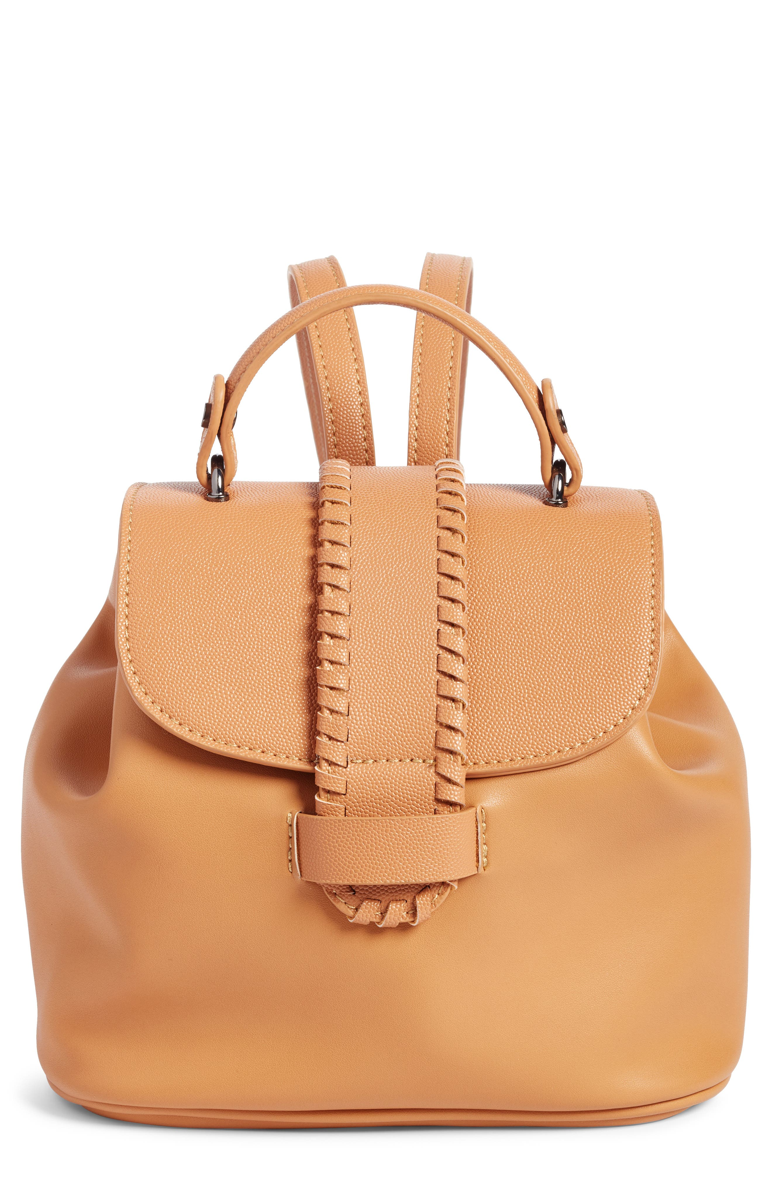 Whipstitch Faux Leather Backpack,                         Main,                         color, Cognac