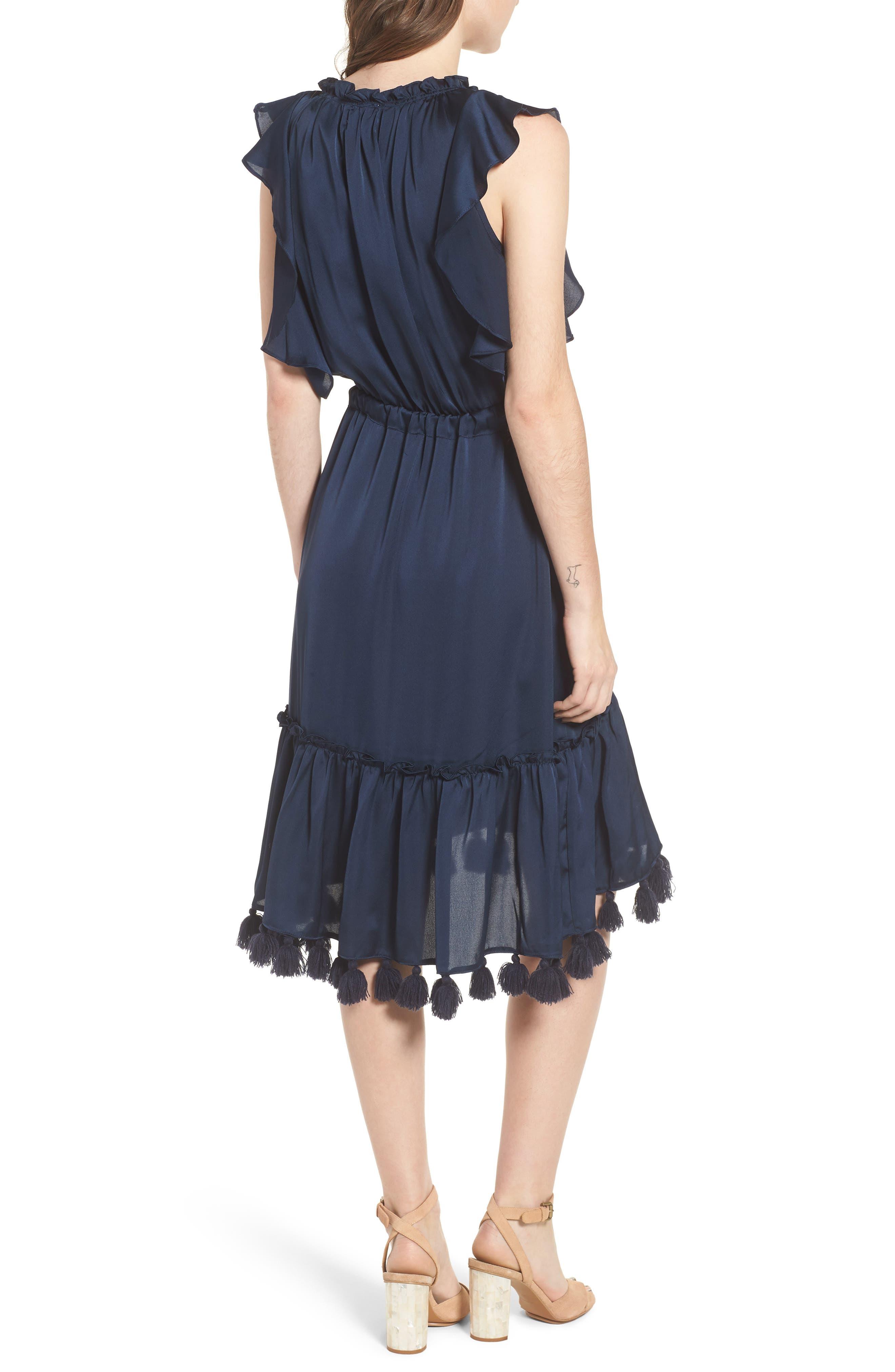 Pillar Satin Dress,                             Alternate thumbnail 2, color,                             Cobalt Blue