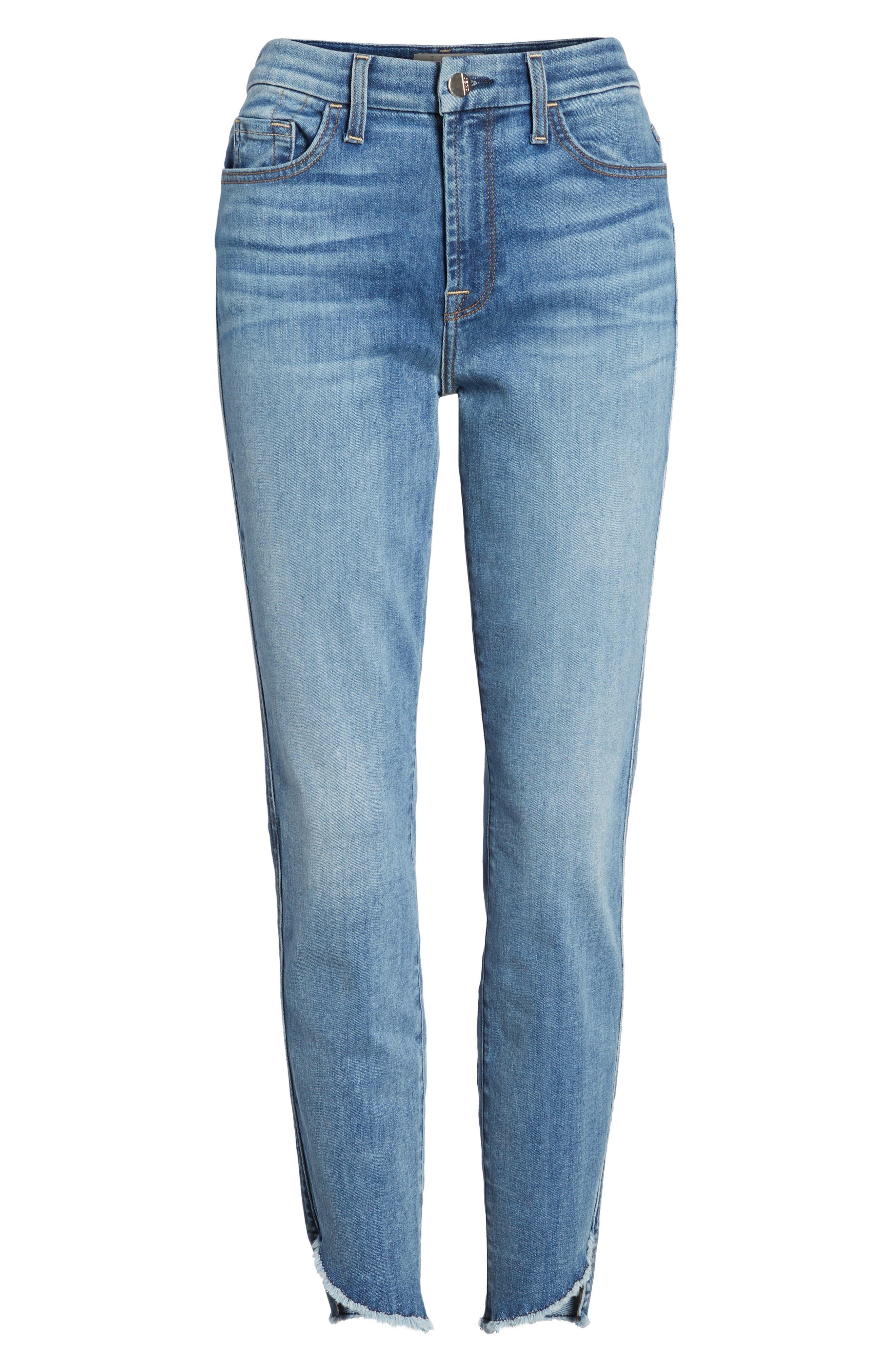 Raw Hem Skinny Jeans,                             Alternate thumbnail 7, color,                             Sunlight