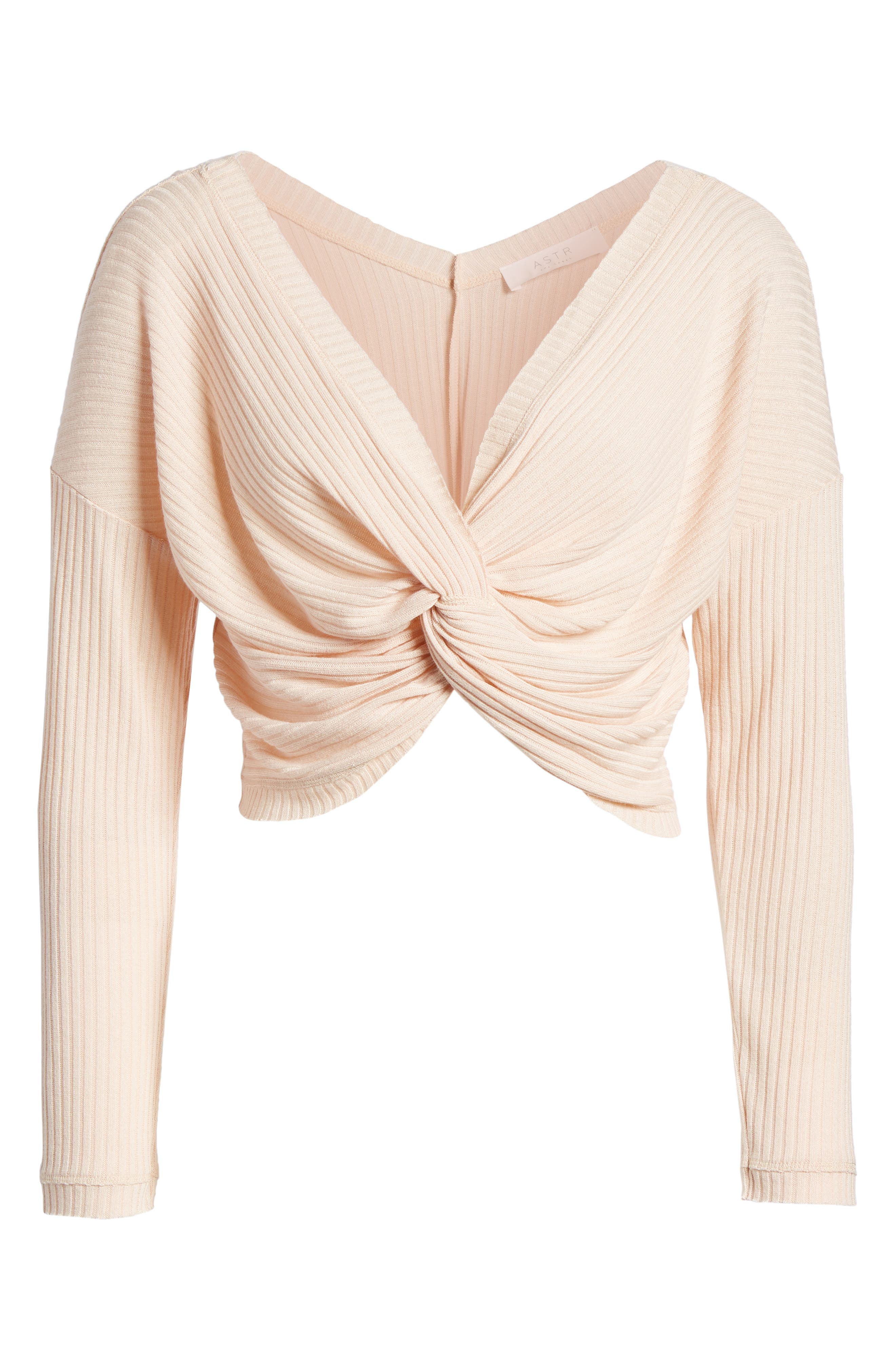 Twist Front Cropped Top,                             Alternate thumbnail 7, color,                             Pale Pink