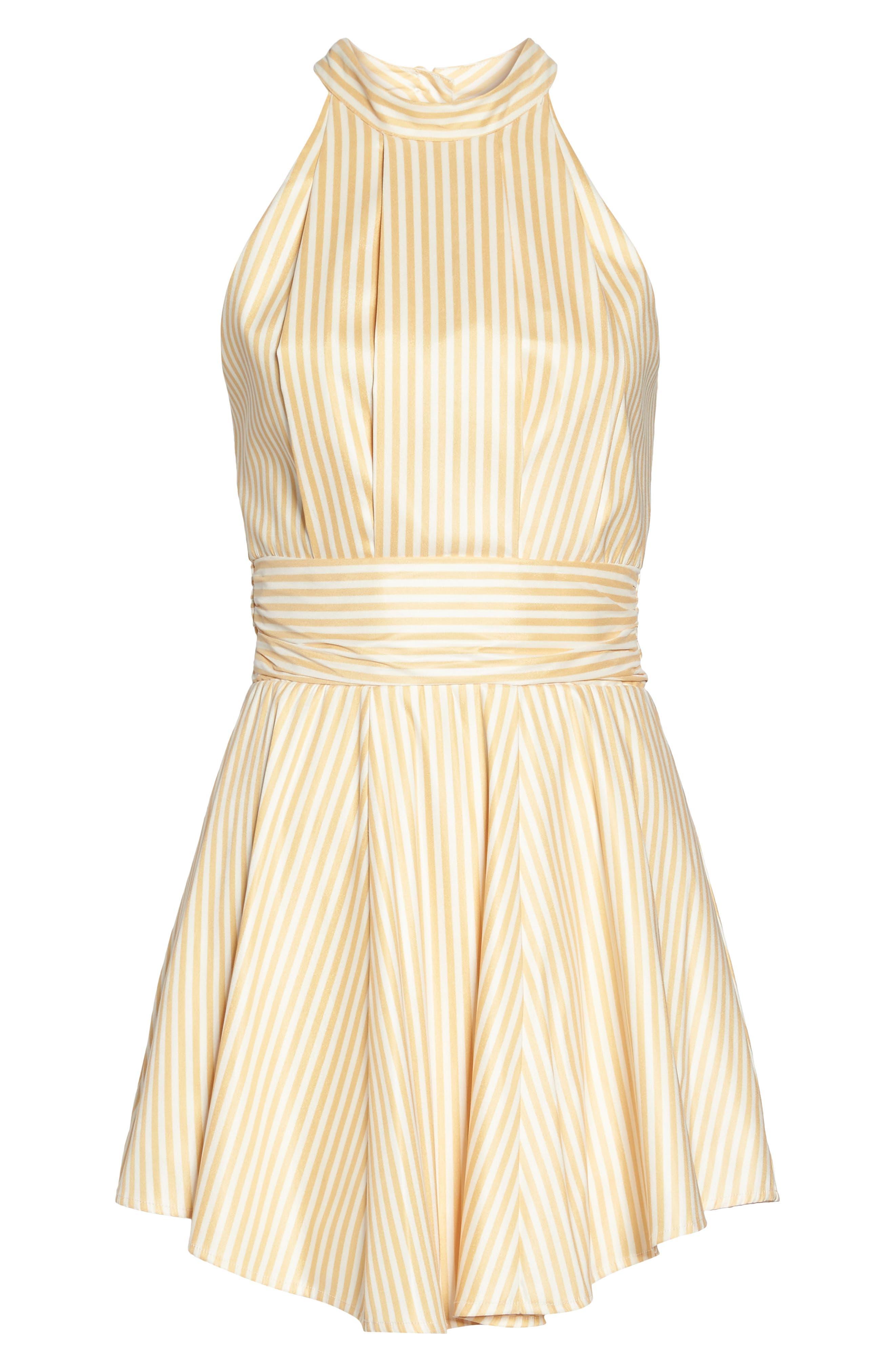 Believe in Me Halter Neck Party Dress,                             Alternate thumbnail 7, color,                             Honey Stripe