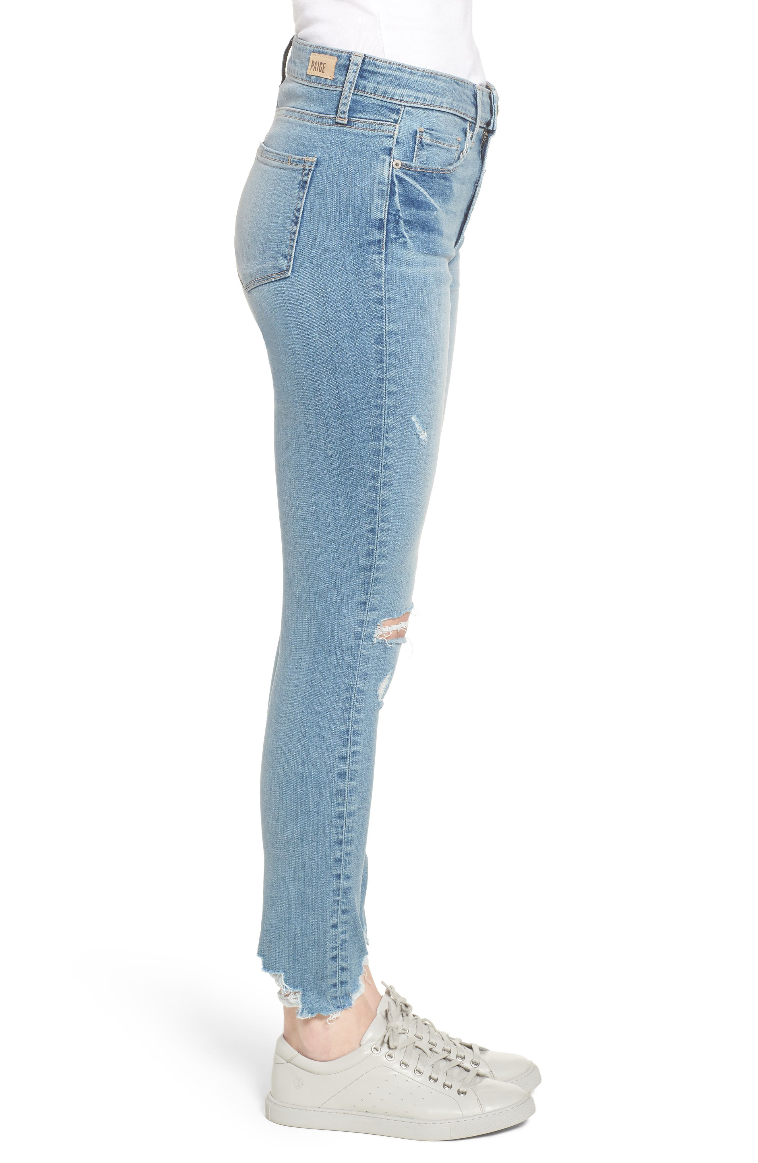 Hoxton High Waist Ankle Skinny Jeans,                             Alternate thumbnail 3, color,                             Janis Destructed