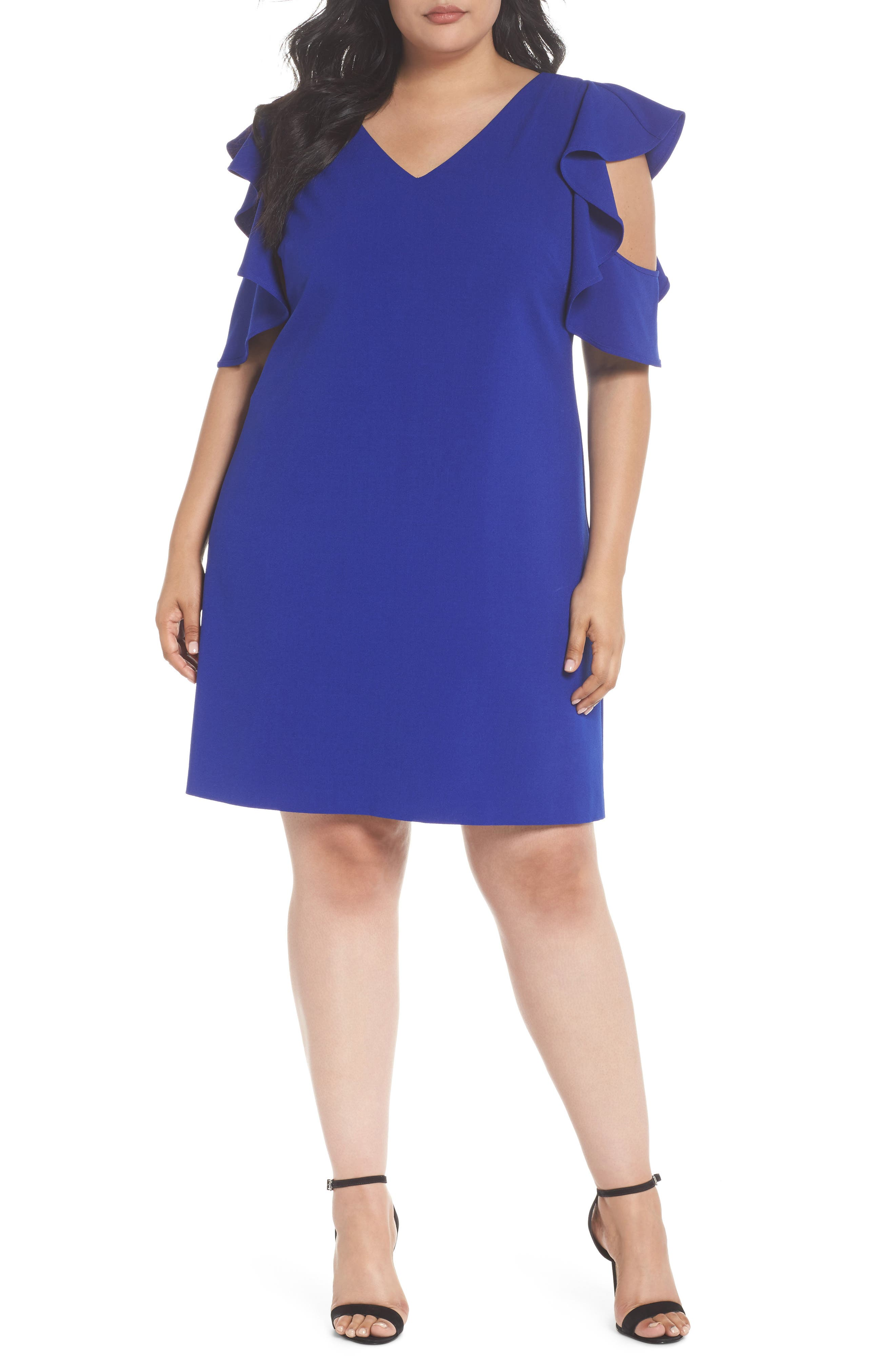 Ruffle Cold Shoulder Shift Dress,                         Main,                         color, Blue Surf