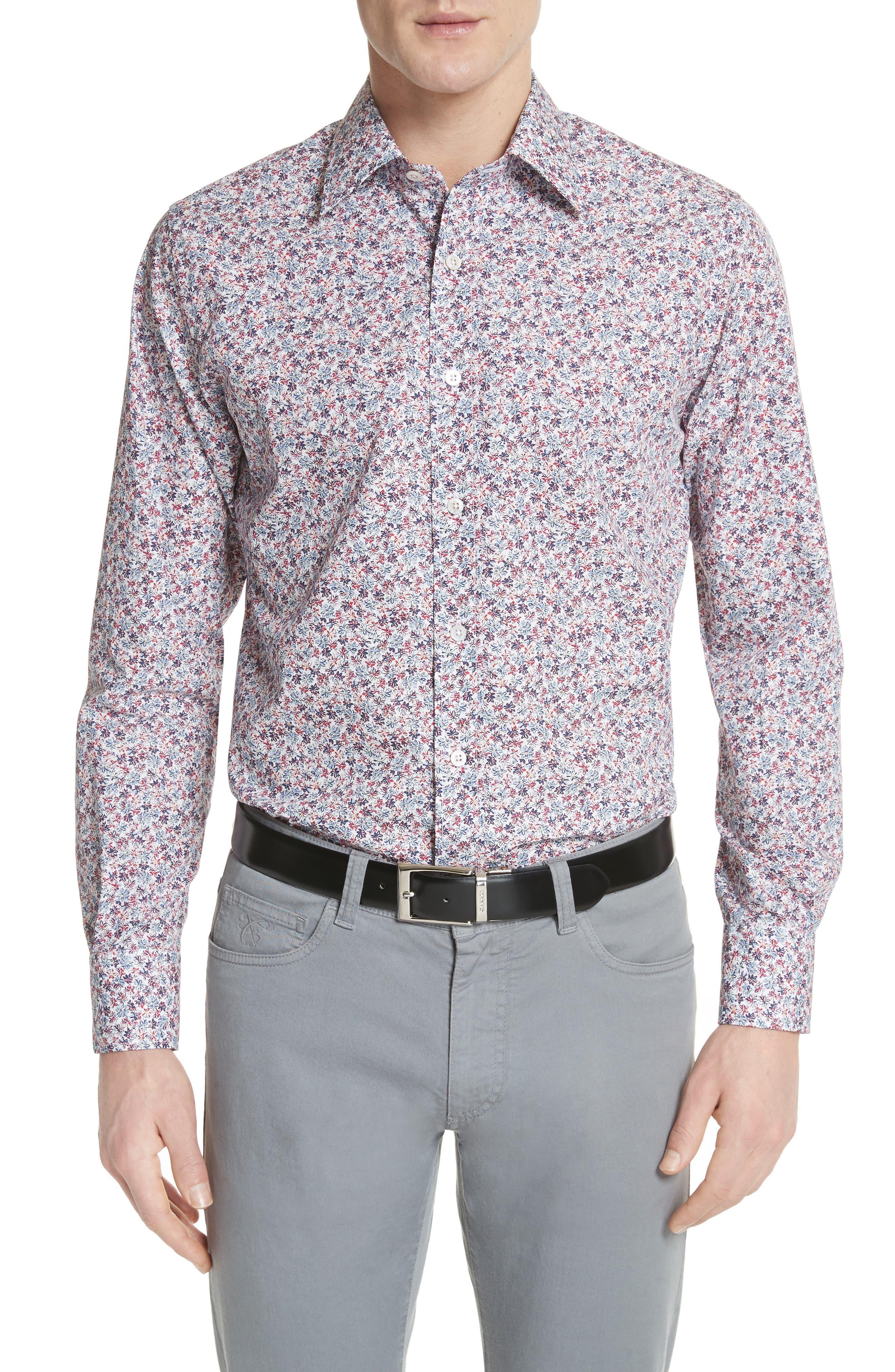 Regular Fit Floral Sport Shirt,                         Main,                         color, White/ Red/ Navy
