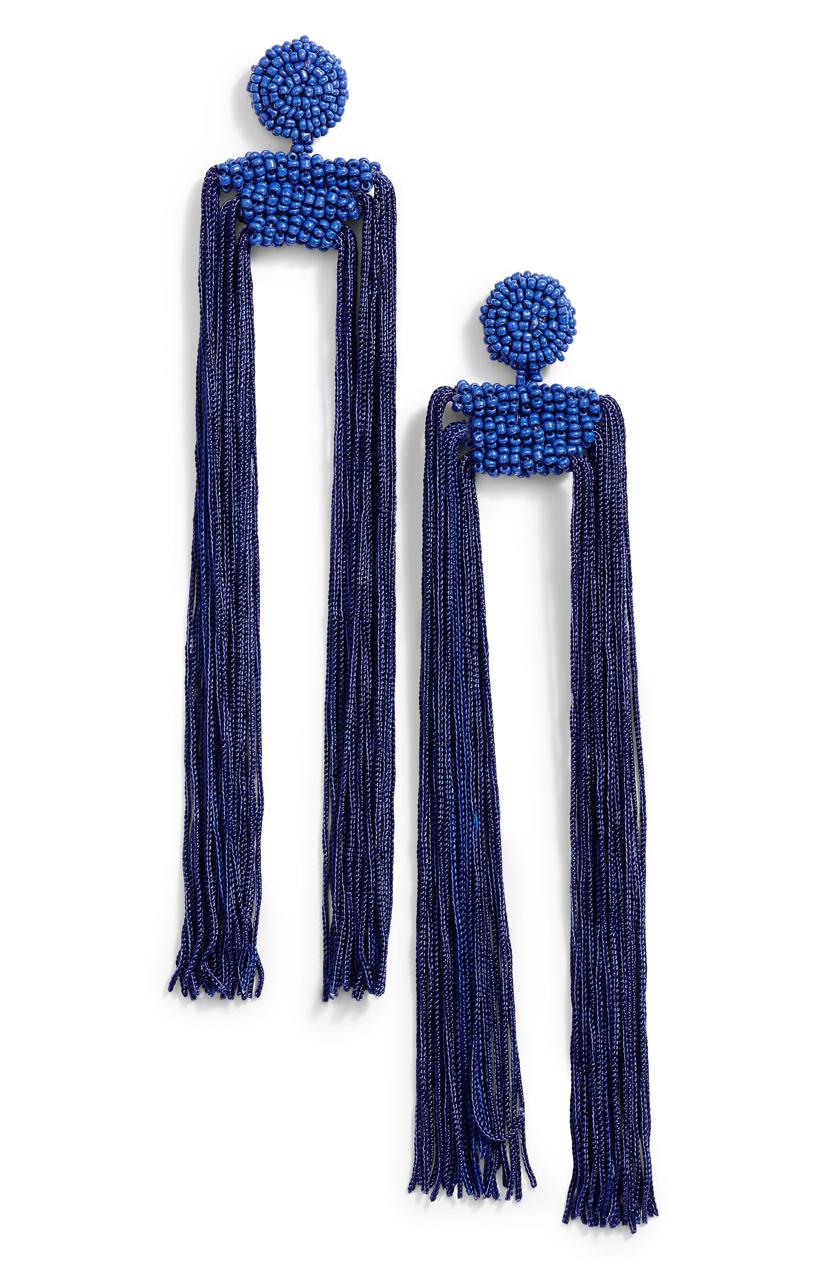 Tropicana Long Tassel Earrings,                         Main,                         color, Cobalt