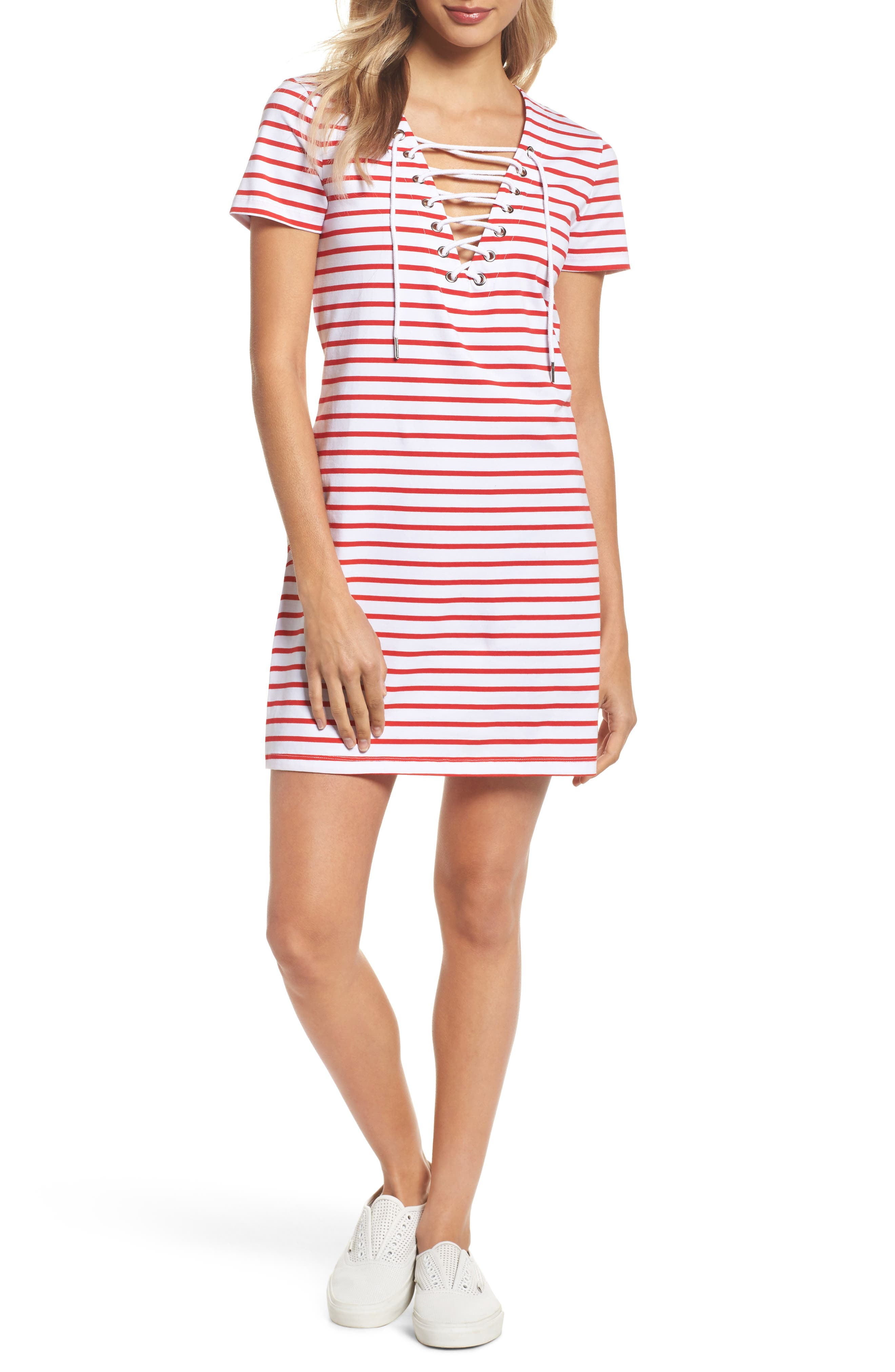 Stripe Shift Dress,                             Main thumbnail 1, color,                             Red Stripe