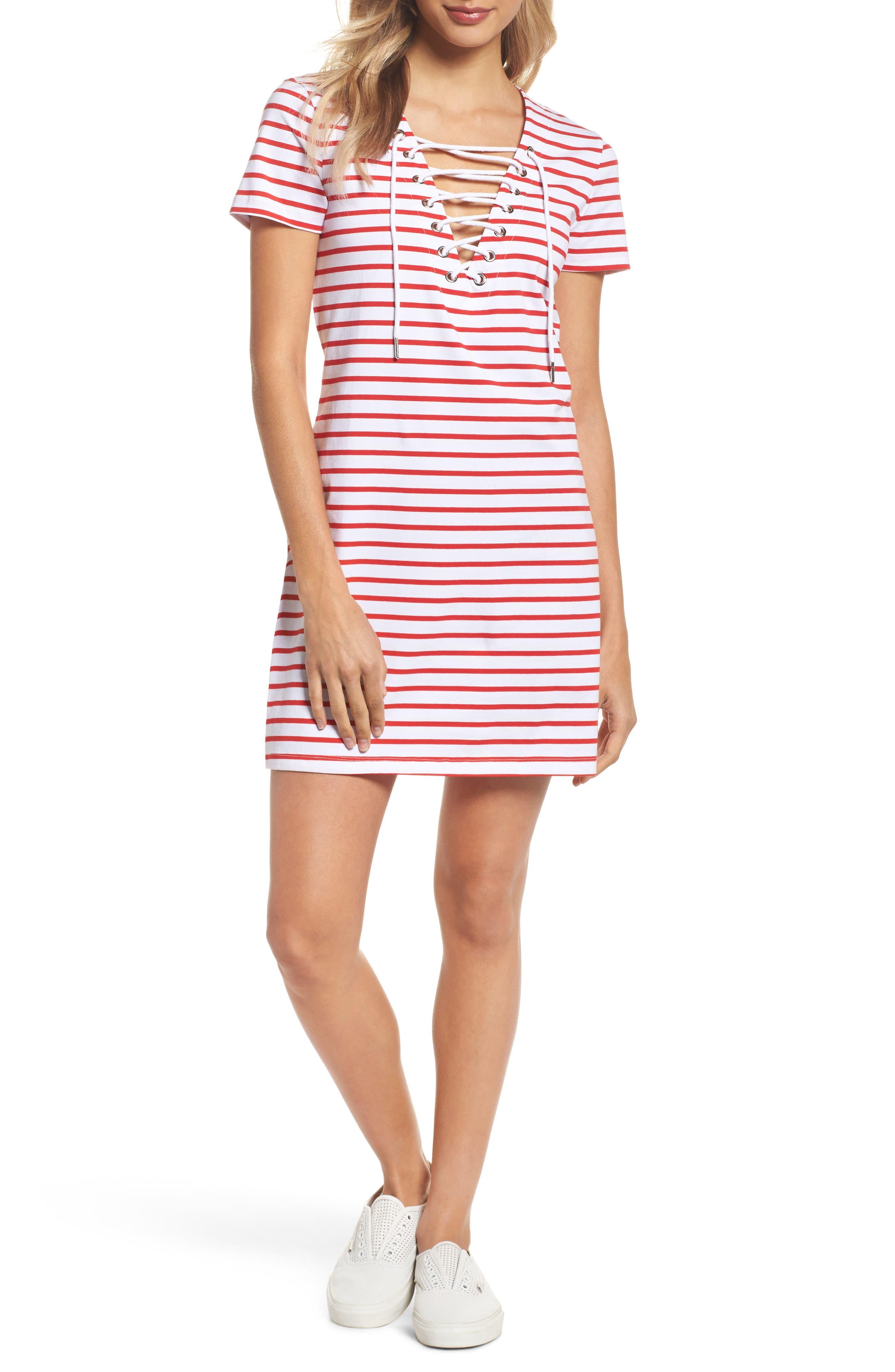 Stripe Shift Dress,                         Main,                         color, Red Stripe