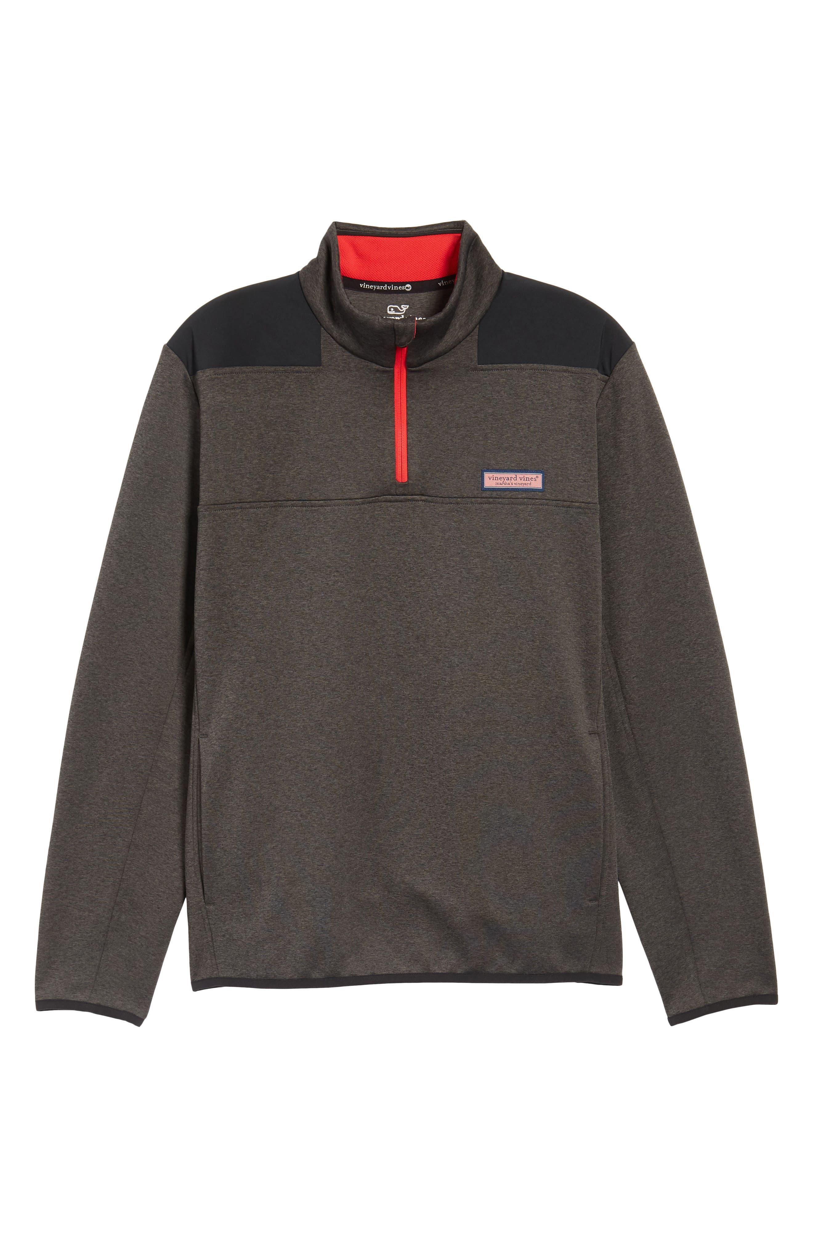 Shep Performance Fleece Quarter Zip Pullover,                             Alternate thumbnail 6, color,                             Charcoal Heather