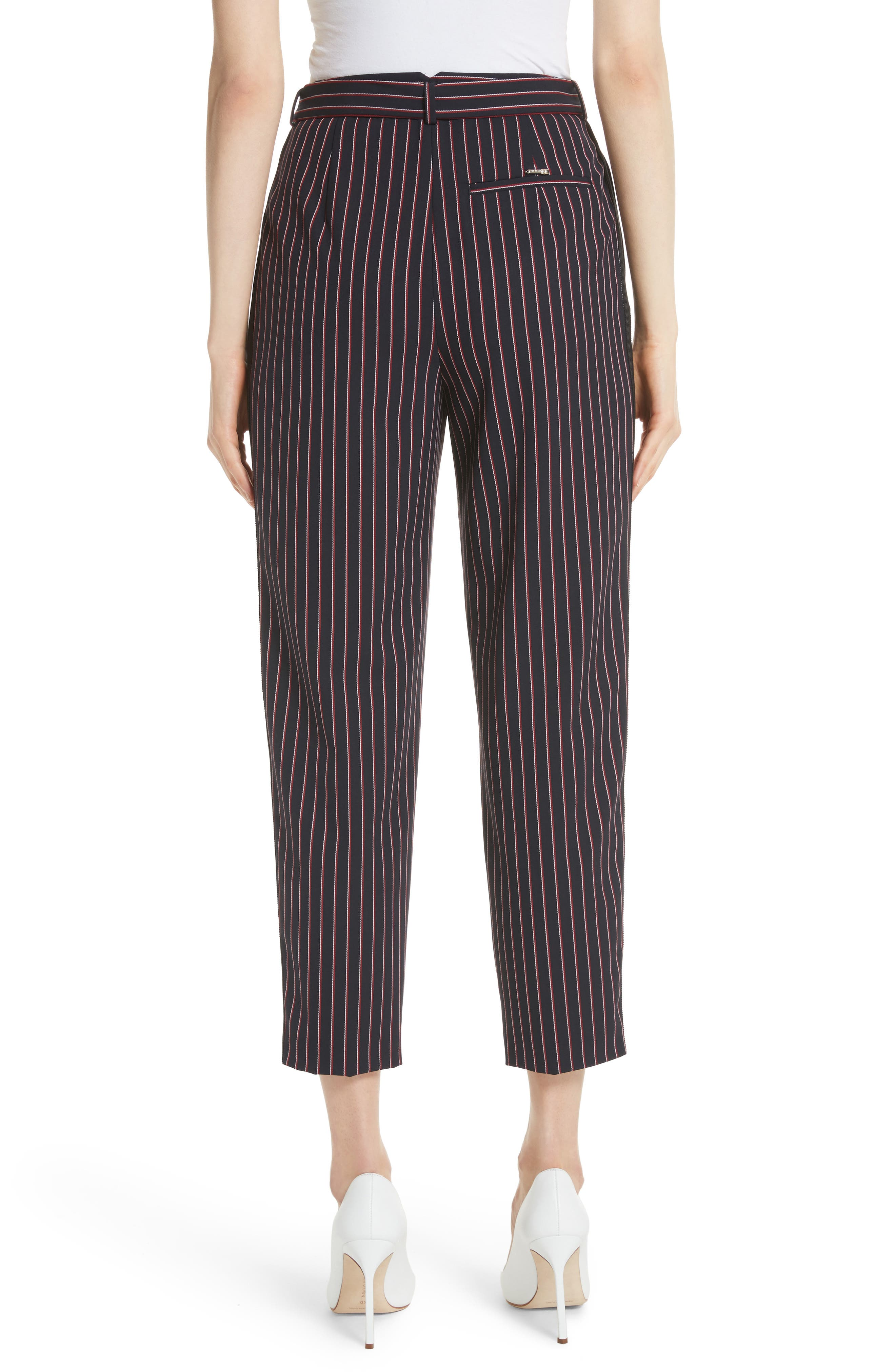 Colour by Numbers Belted Stripe Crop Pants,                             Alternate thumbnail 2, color,                             Navy