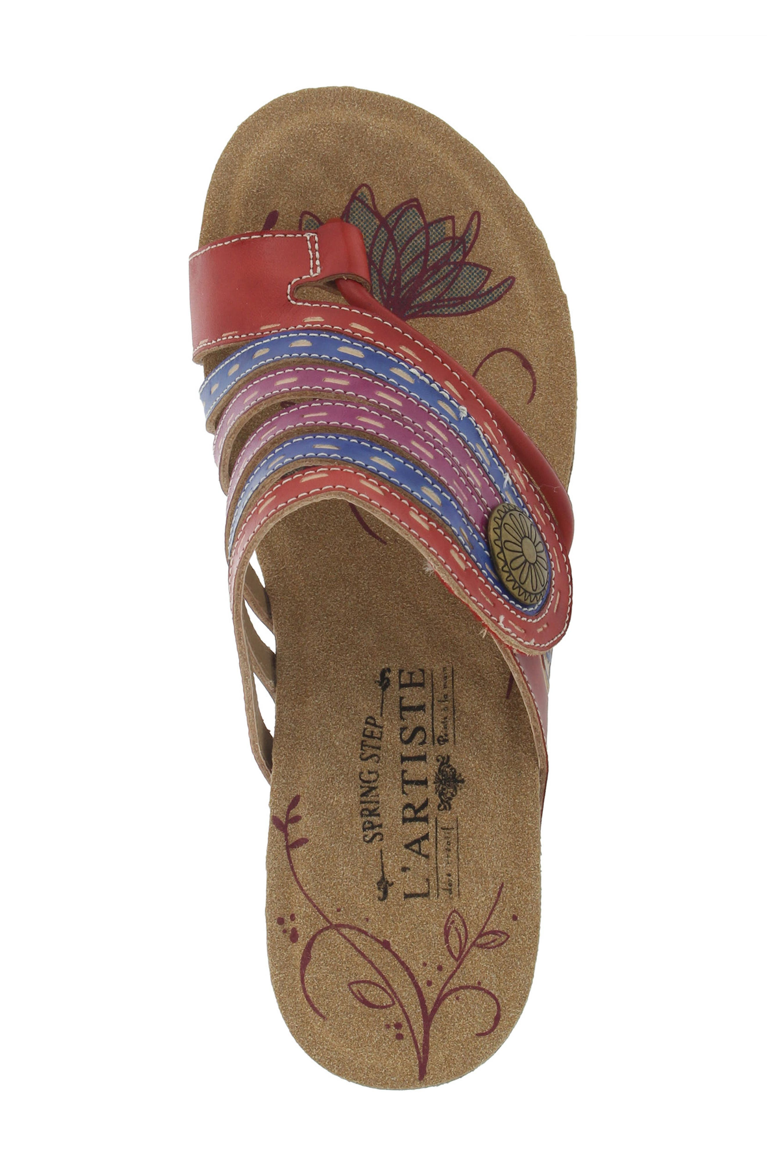 L'Artiste Claudia Wedge Sandal,                             Alternate thumbnail 4, color,                             Red Leather