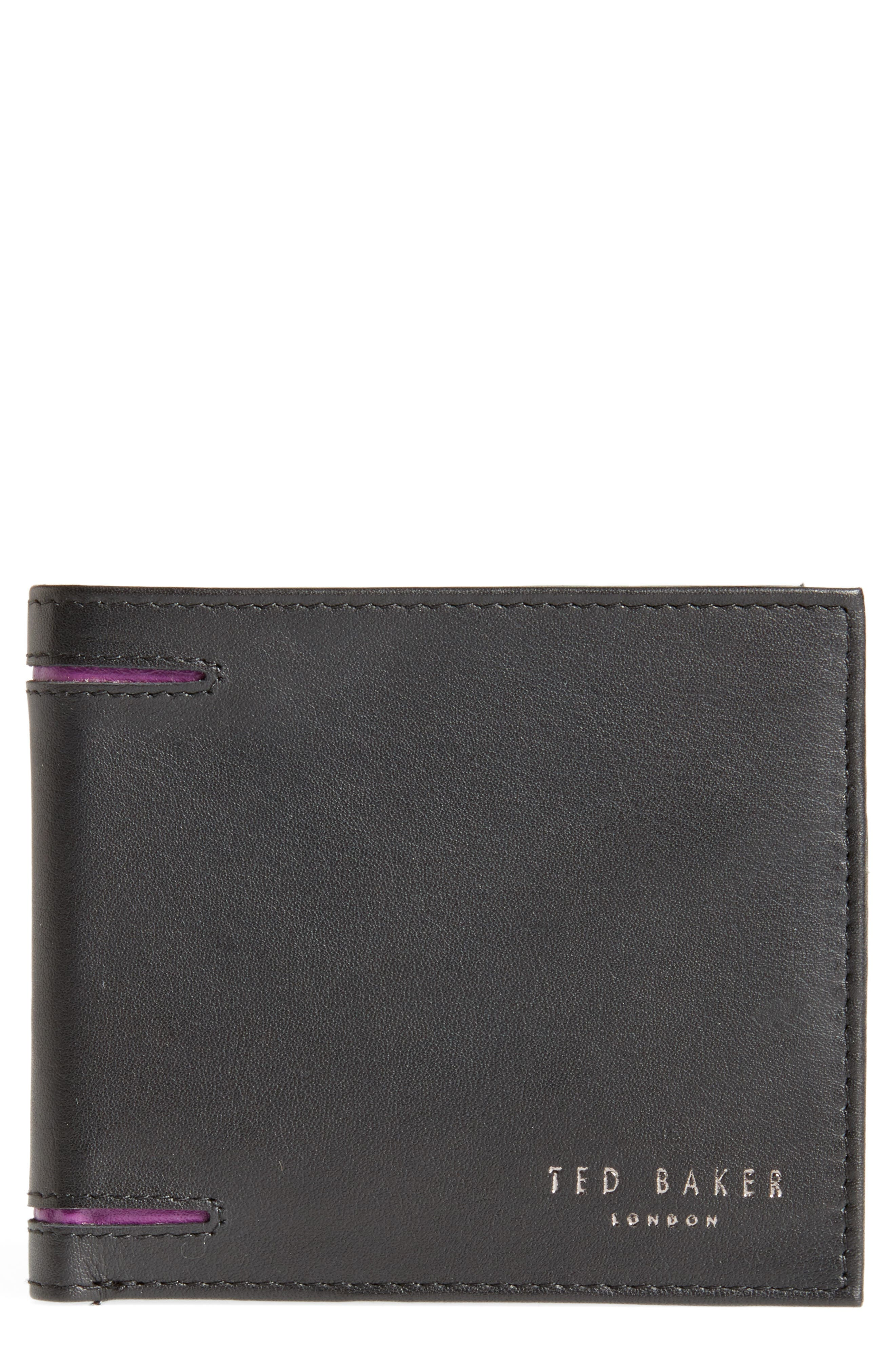 Figgy Inset Spine Leather Wallet,                             Main thumbnail 1, color,                             Black