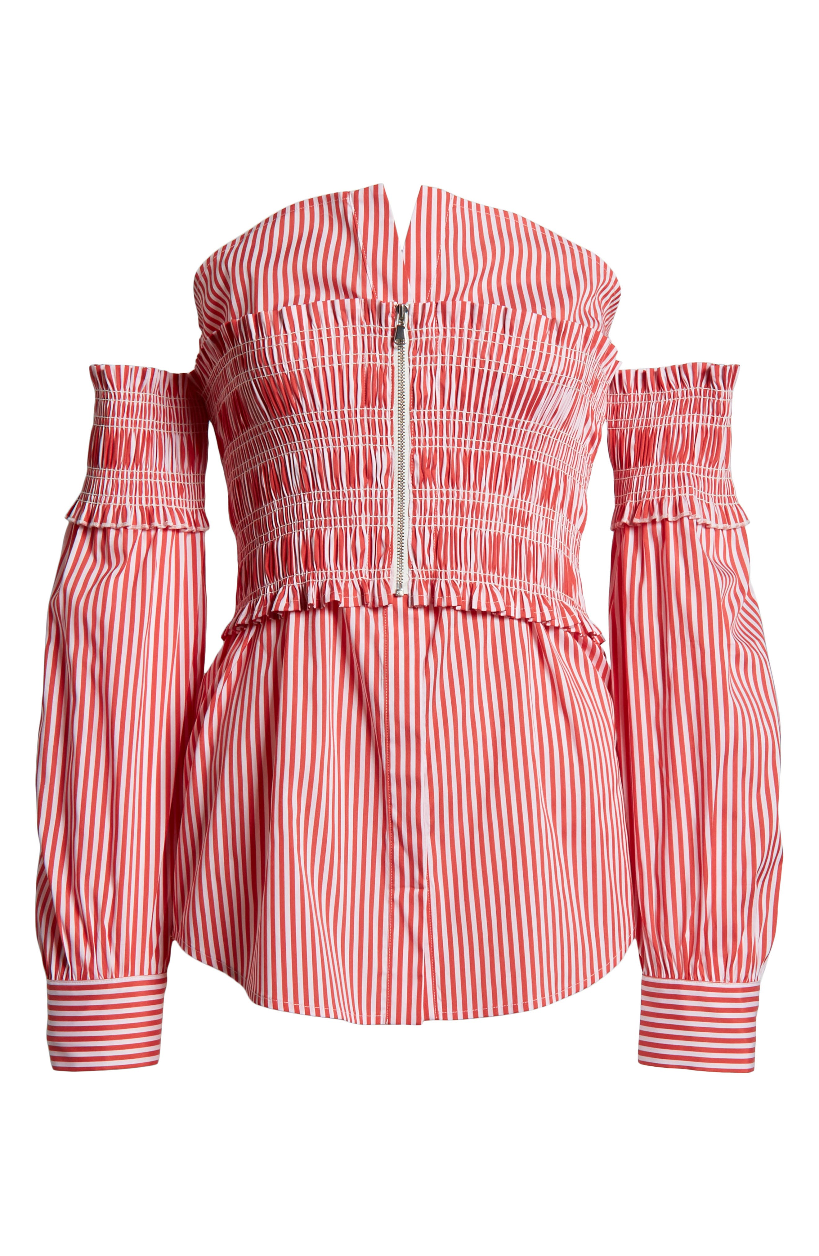 Stripe Smocked Corset Shirt,                             Alternate thumbnail 7, color,                             Red/ White Lucy Stripe