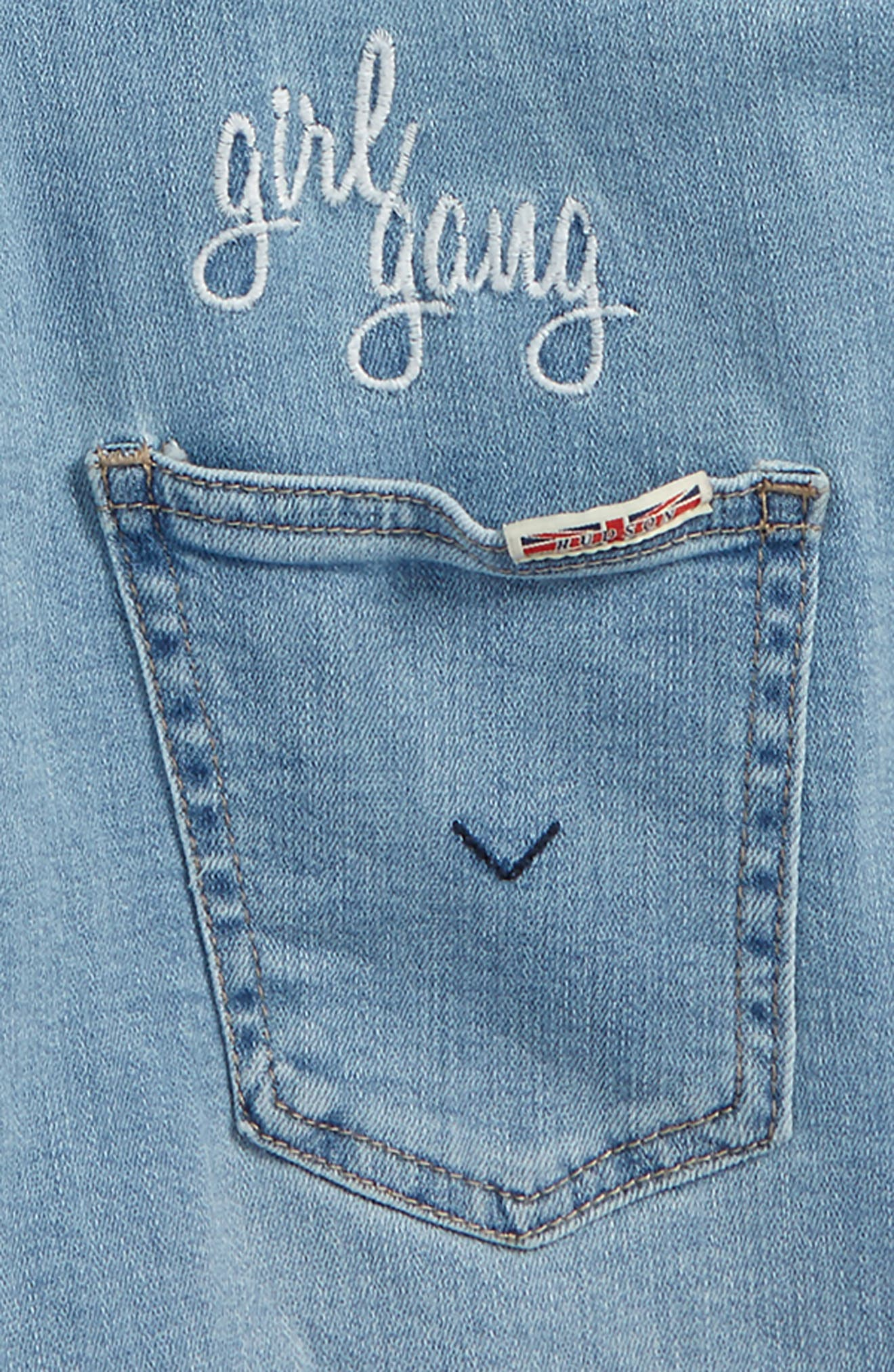 Girl Gang Denim Romper,                             Alternate thumbnail 3, color,                             Sand Blue