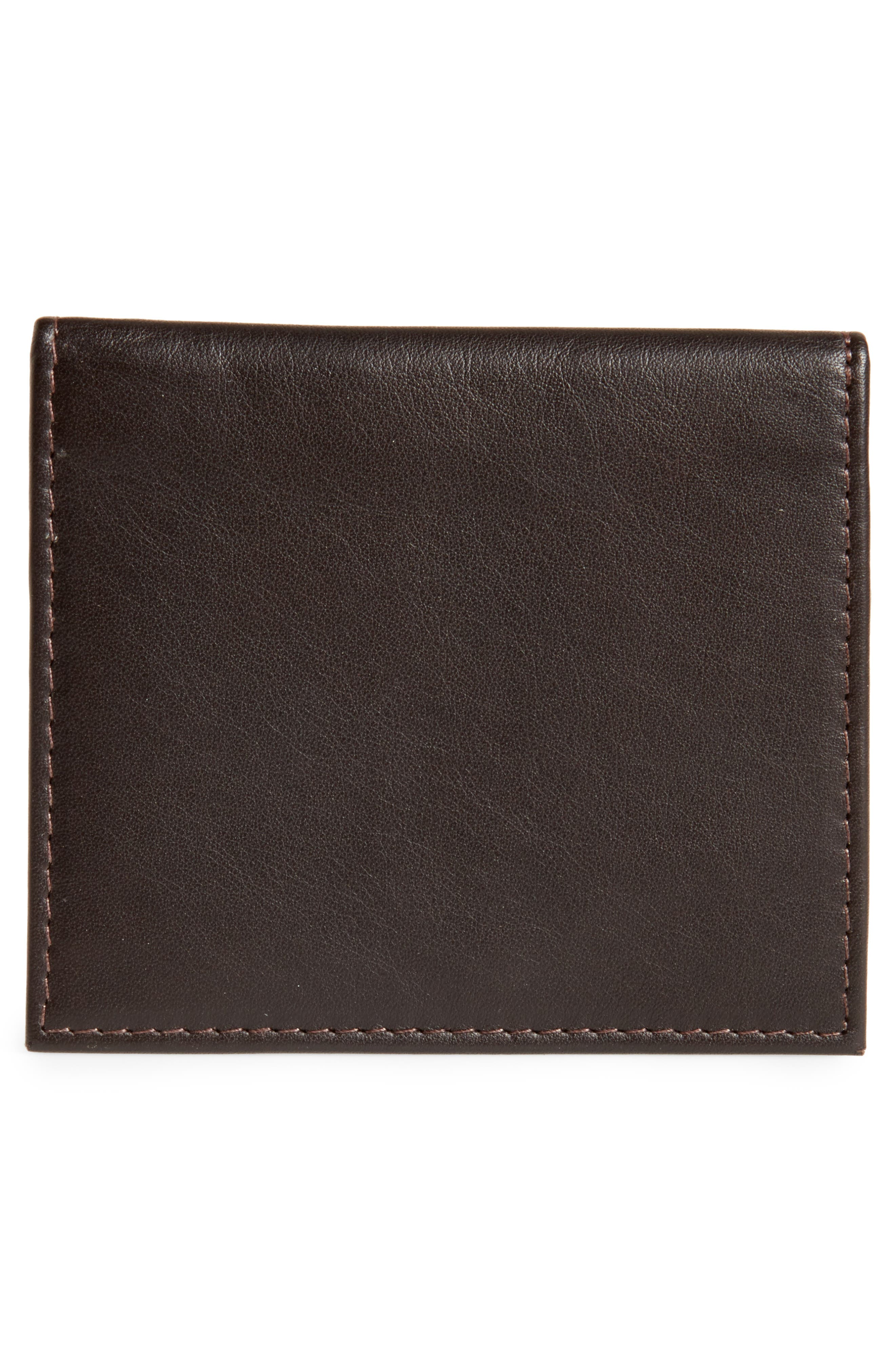 Foxes Stripe Leather Foldover Card Case,                             Alternate thumbnail 3, color,                             Chocolate
