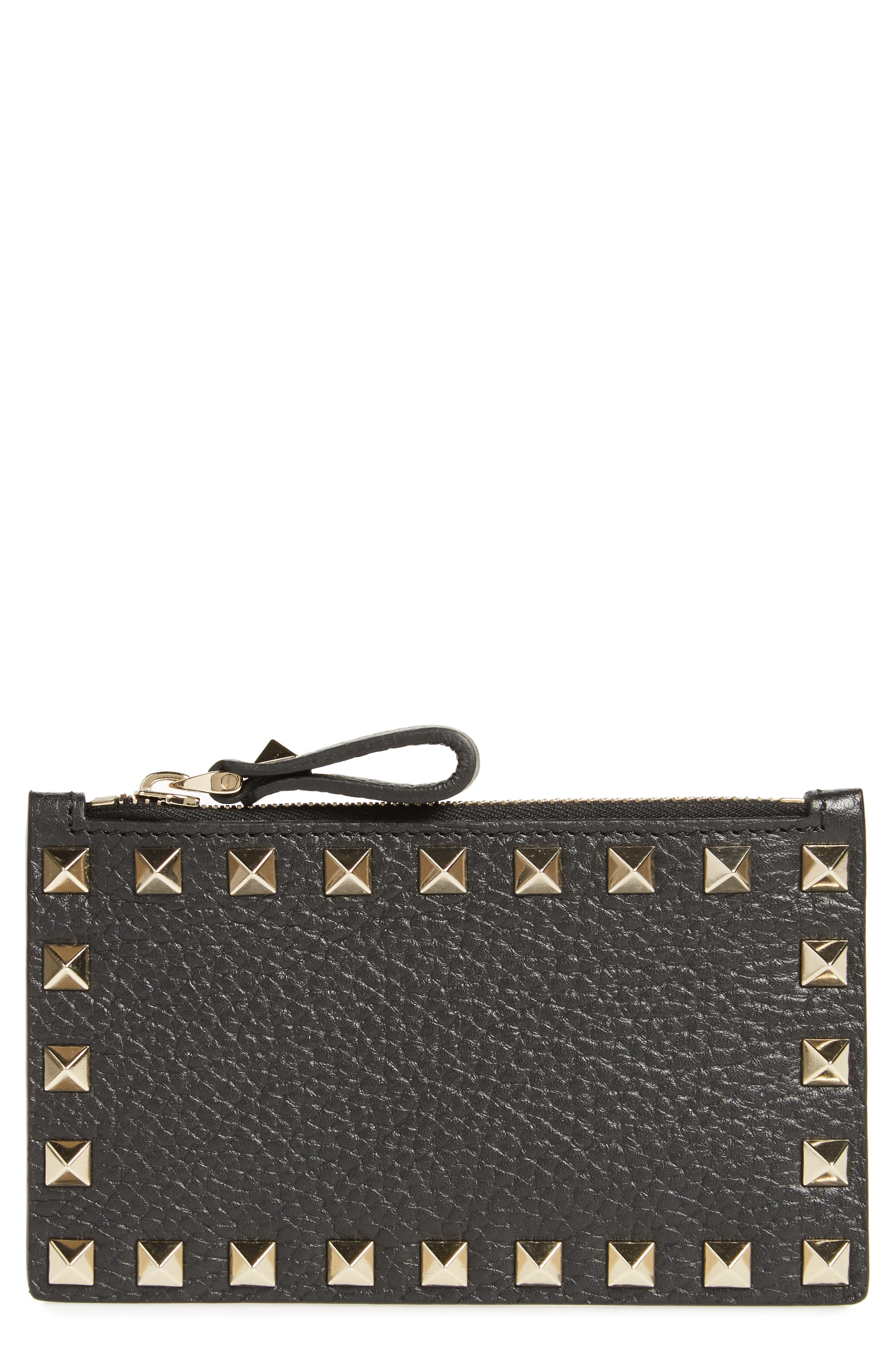 Rockstud Leather Zip Card Case,                         Main,                         color, Black