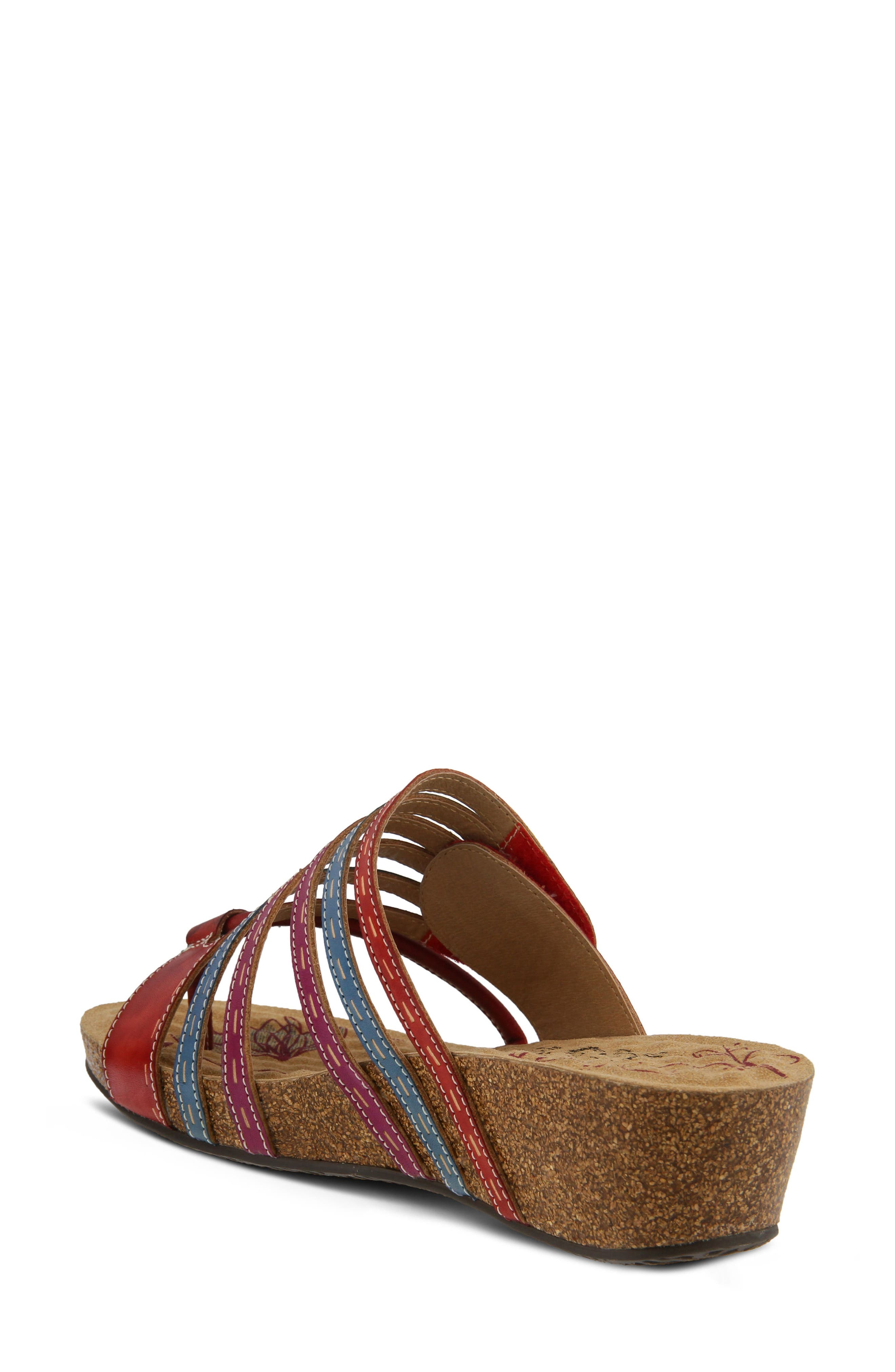 L'Artiste Claudia Wedge Sandal,                             Alternate thumbnail 2, color,                             Red Leather