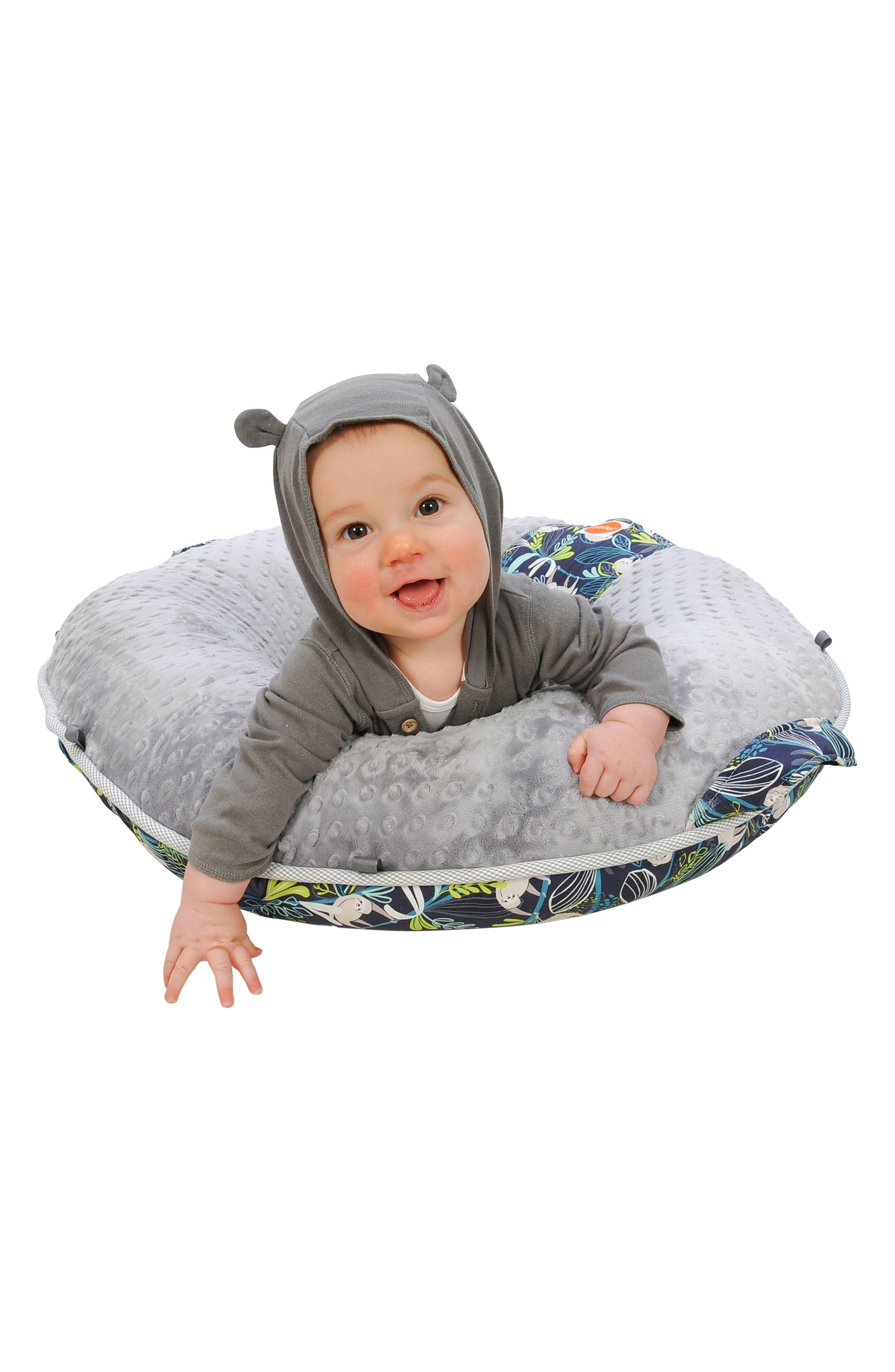 Sammy Luxe Portable Floor Pillow,                             Alternate thumbnail 4, color,                             Blue/ Gray