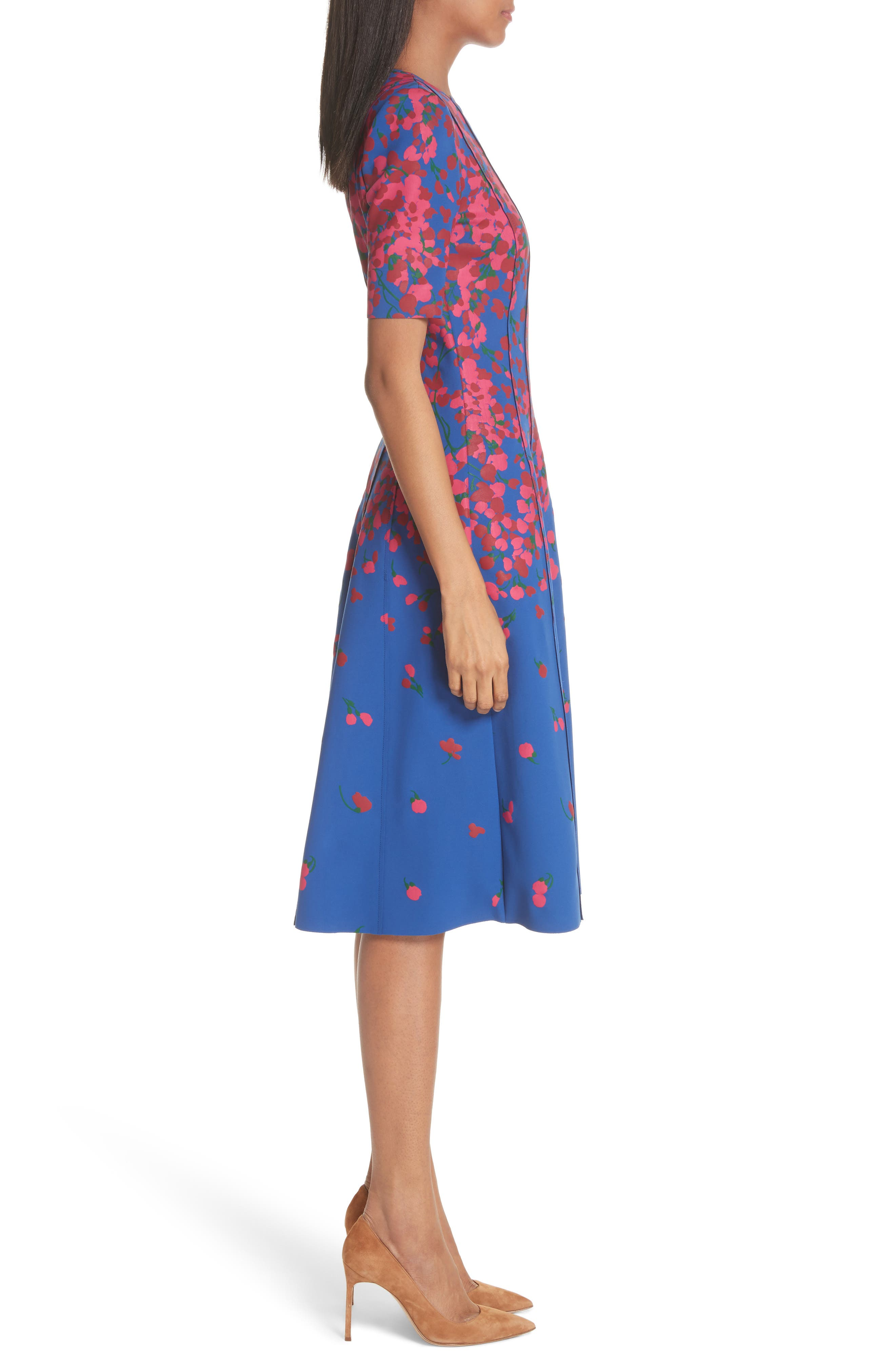 Knit Floral Print Dress,                             Alternate thumbnail 3, color,                             Persian Blue Multi