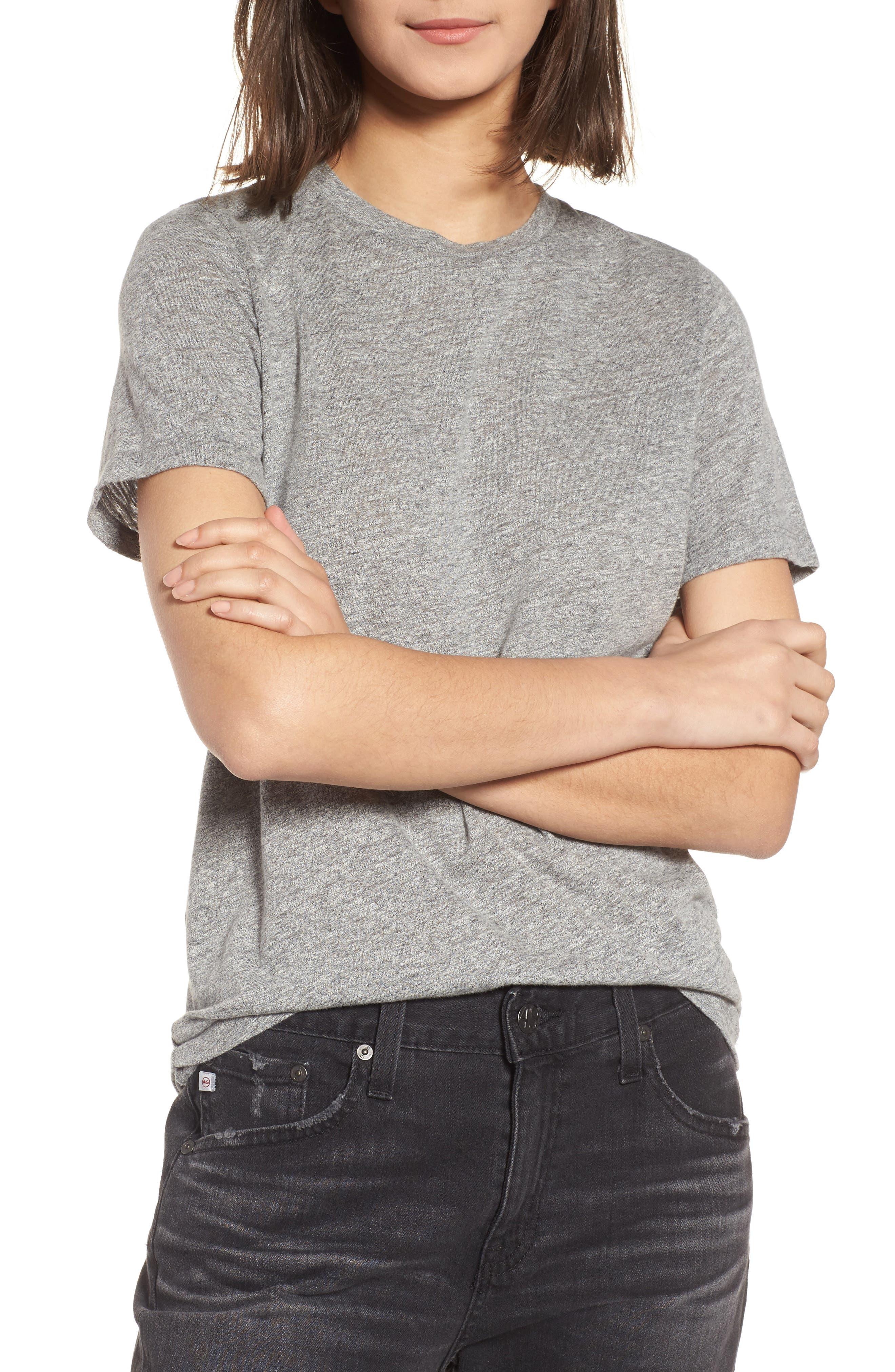 Gray Boyfriend Tee,                         Main,                         color, Speckled Heather Grey