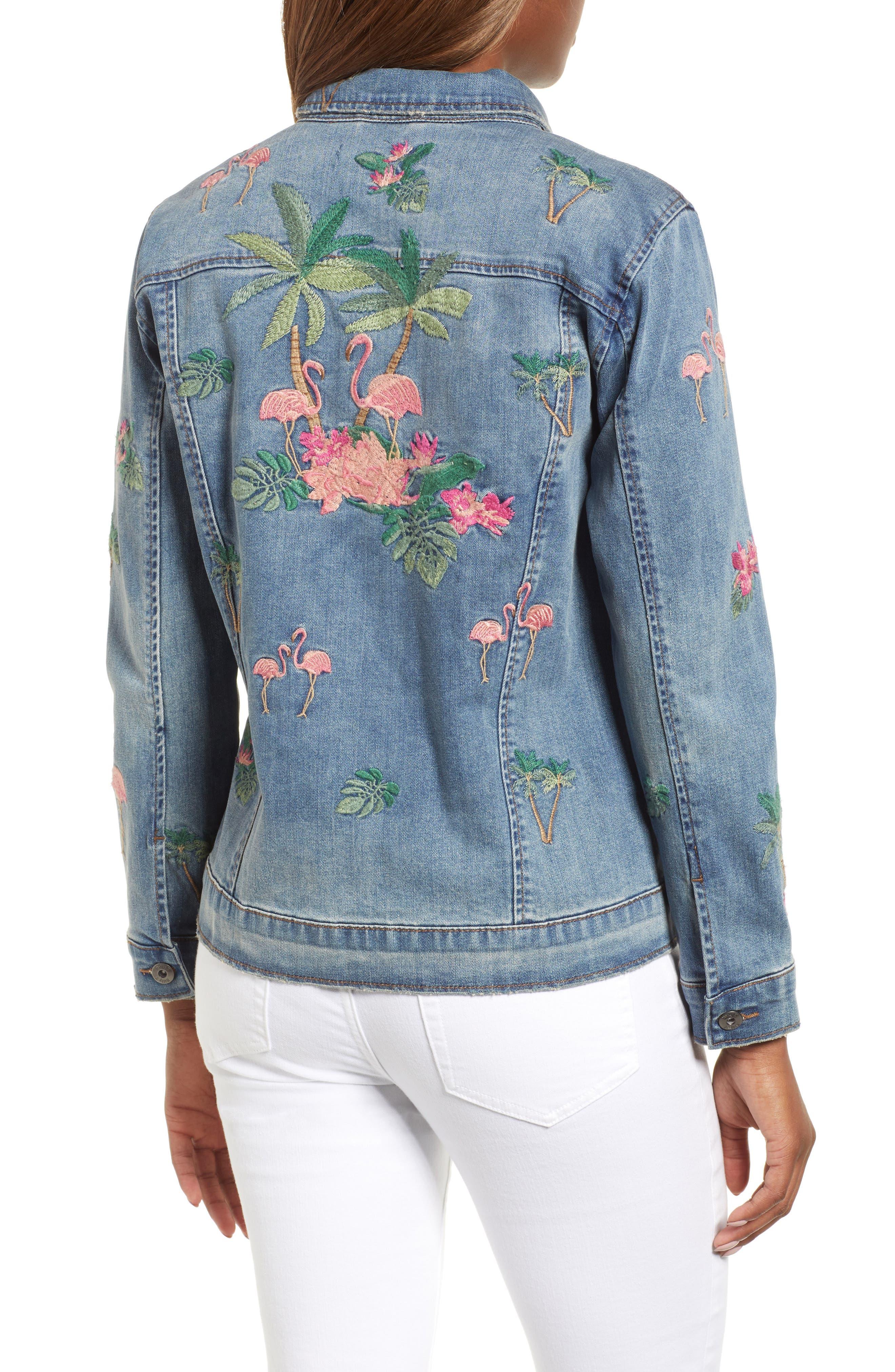 Flamingo Embroidered Denim Jacket,                             Alternate thumbnail 2, color,                             Blue W/ Embroider