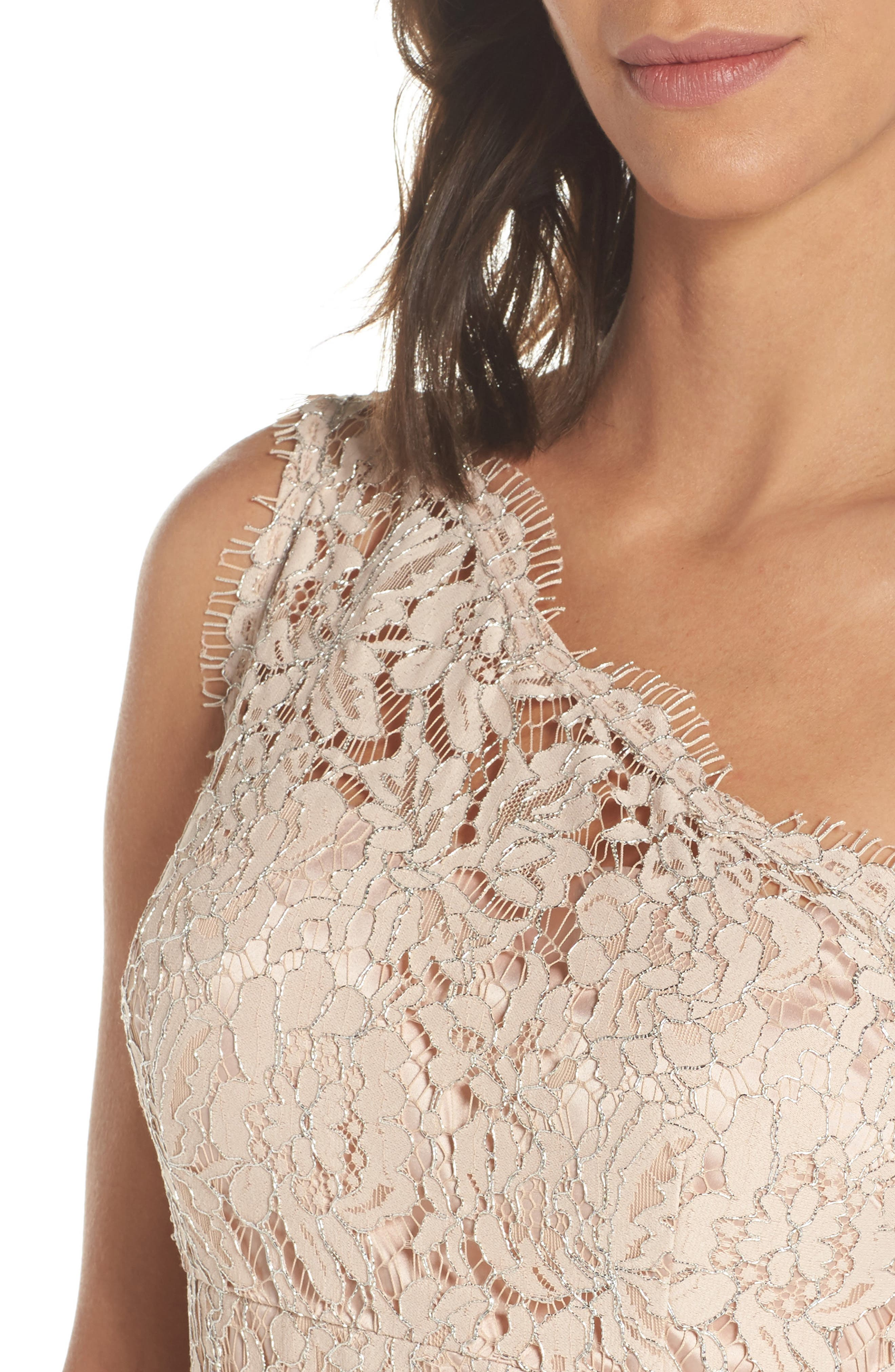 One-Shoulder Lace Gown,                             Alternate thumbnail 4, color,                             Champagne