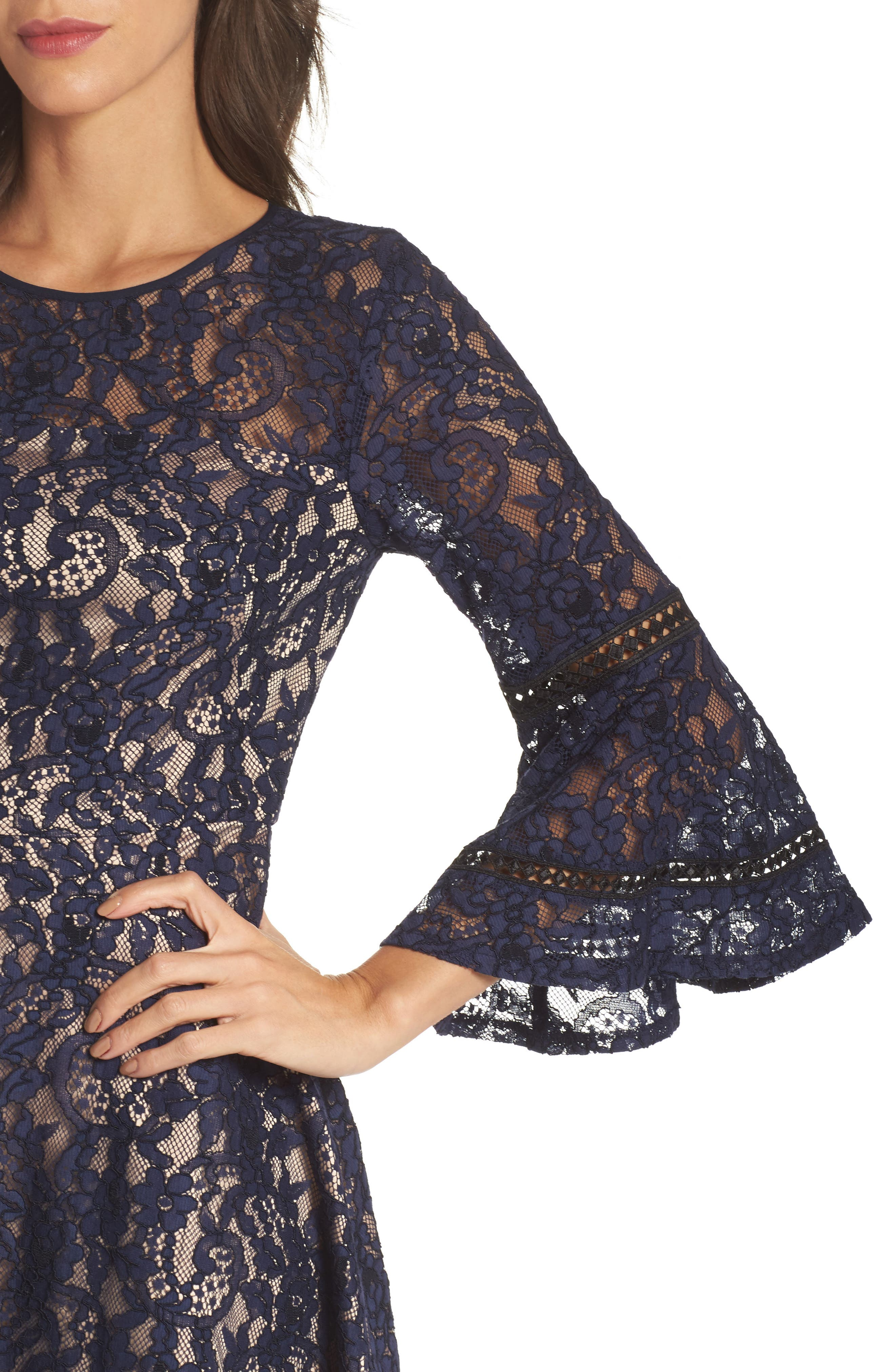 Bell Sleeve Lace Fit & Flare Dress,                             Alternate thumbnail 4, color,                             Navy