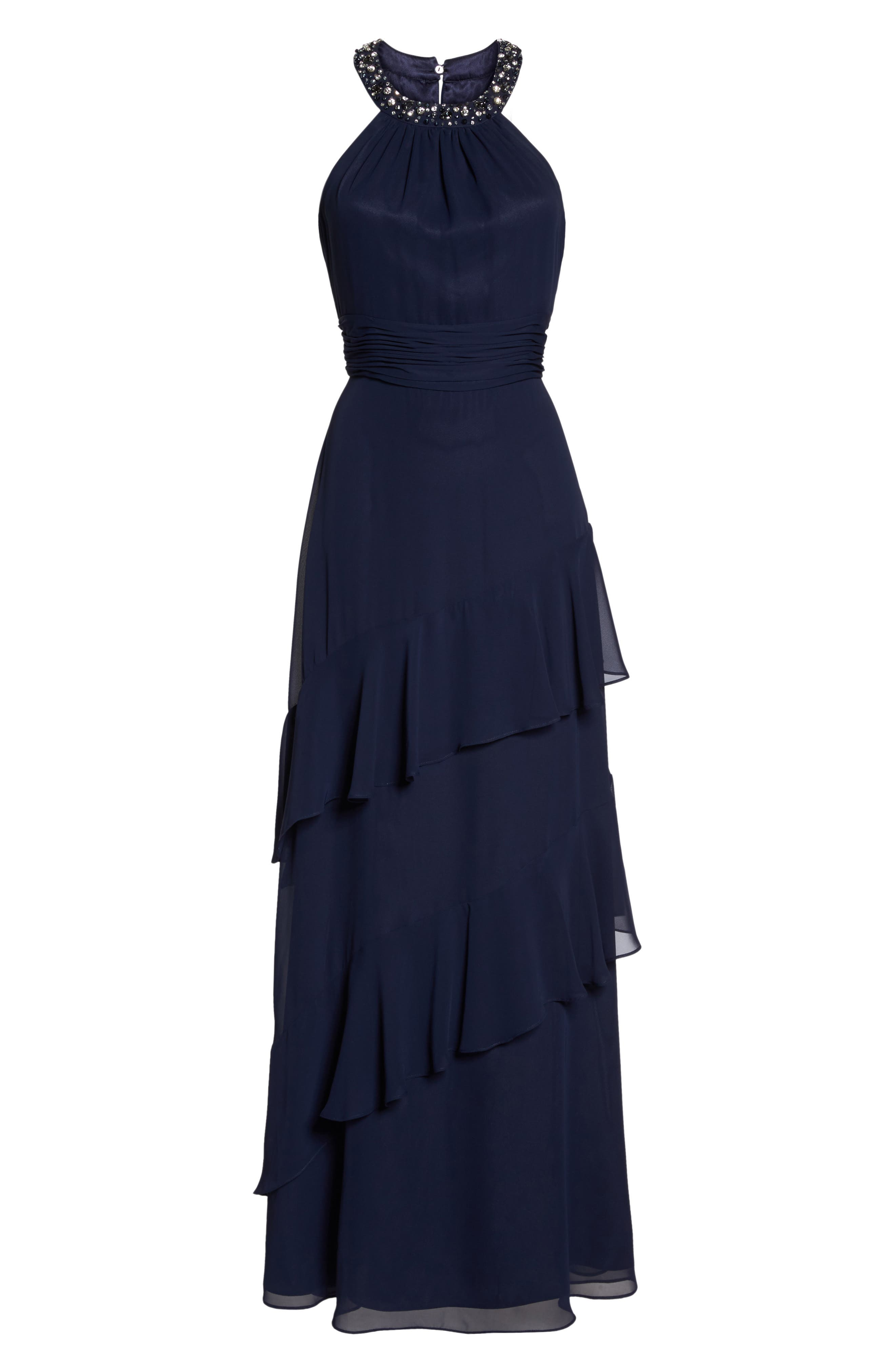 Beaded Halter Tiered Chiffon Gown,                             Alternate thumbnail 6, color,                             Navy