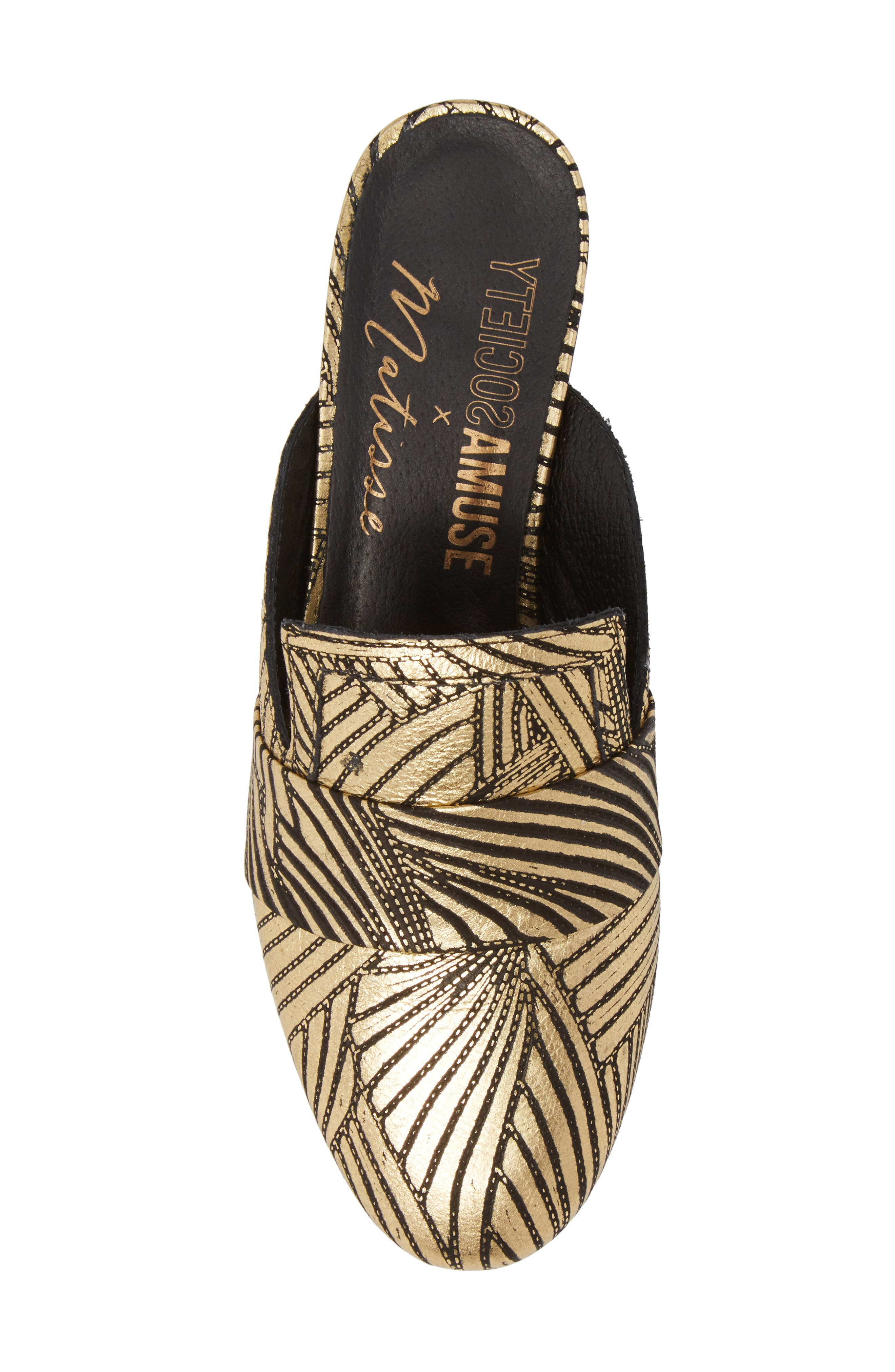Amuse Society x Matisse Le Bella Loafer Mule,                             Alternate thumbnail 5, color,                             Gold Floral Leather