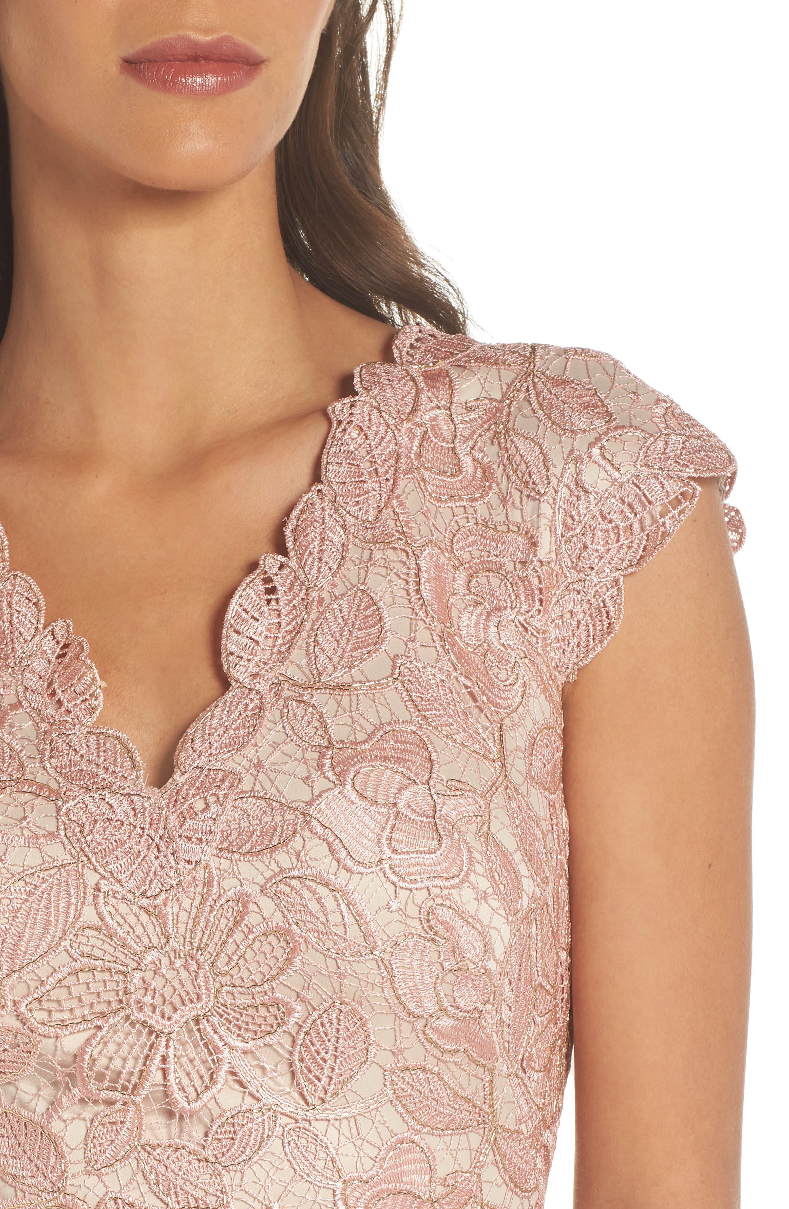Frankie Lace Gown,                             Alternate thumbnail 4, color,                             Petal/ Gold