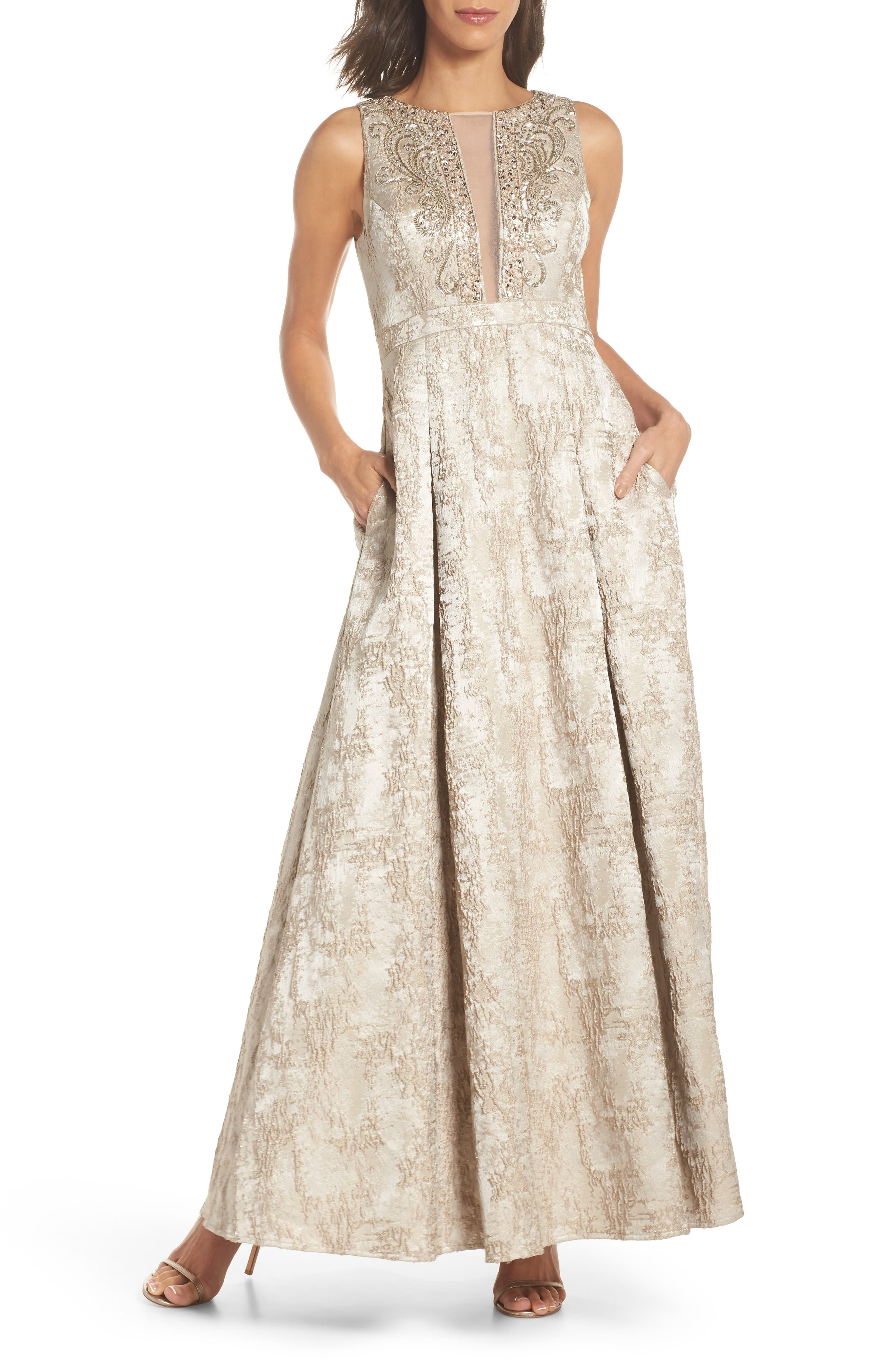 Beaded Jacquard Ballgown,                         Main,                         color, Taupe