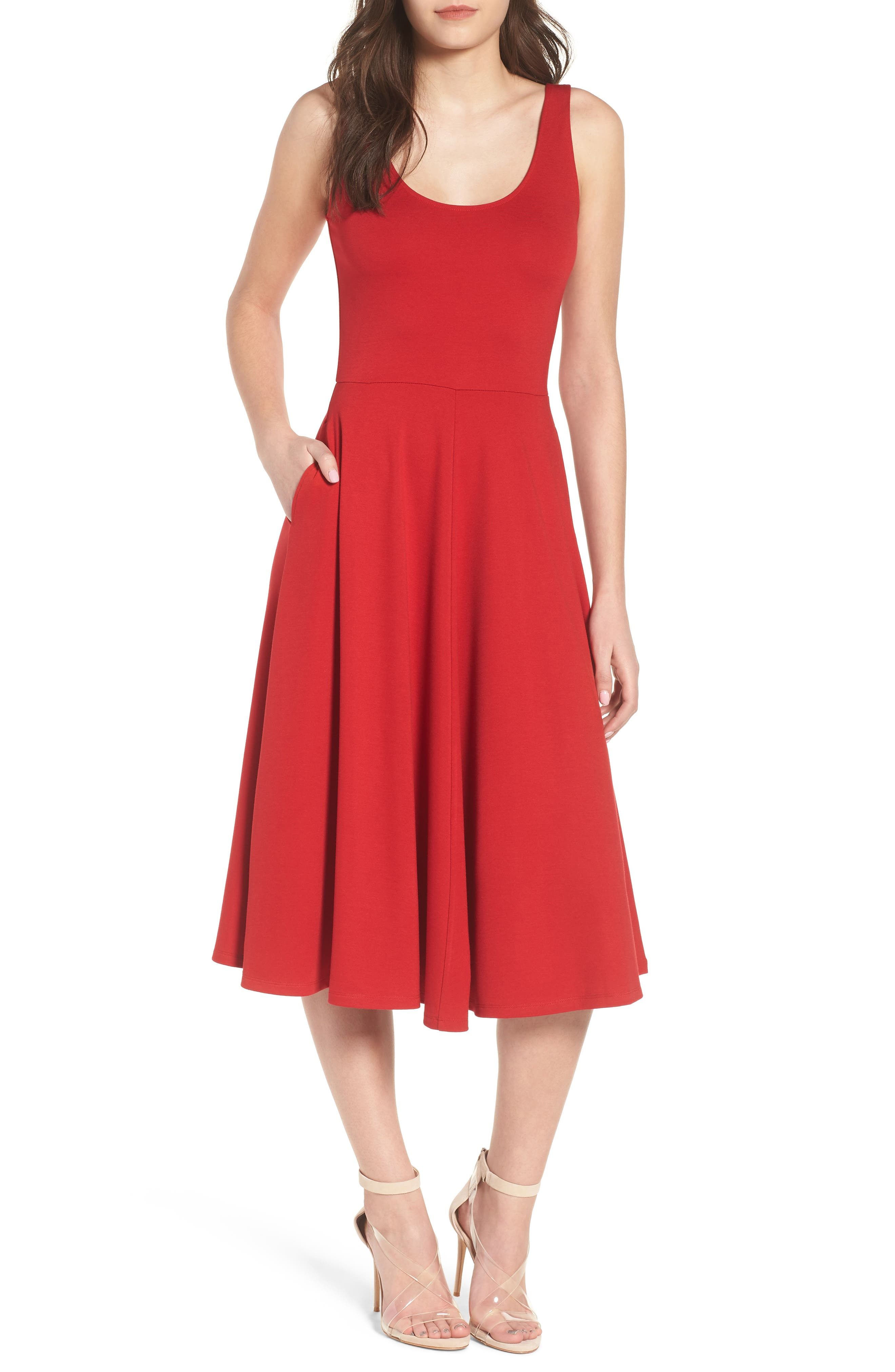 Stretch Knit Midi Dress,                         Main,                         color, Red Couture