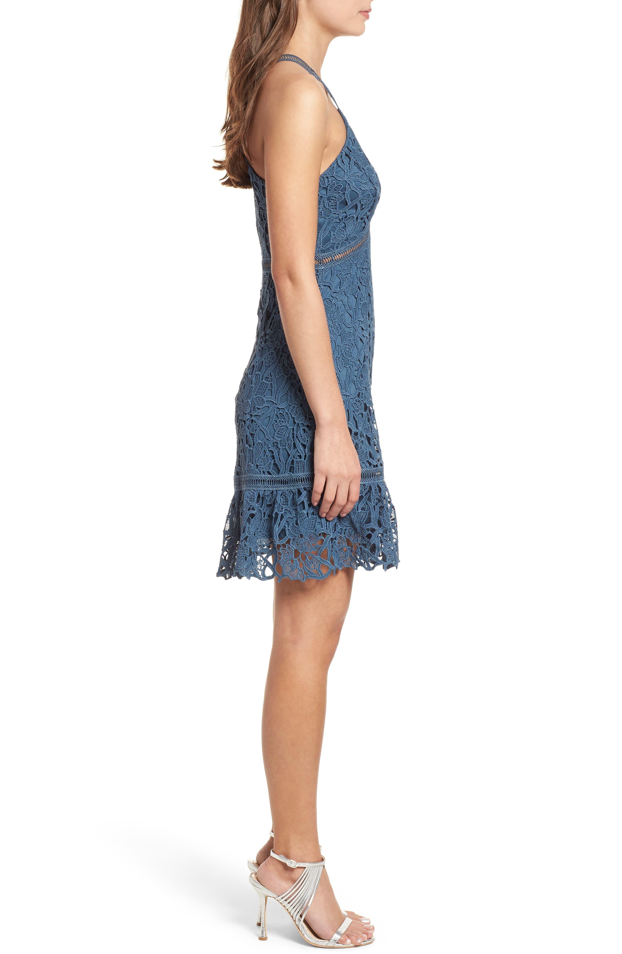 Ruffle Hem Lace Dress,                             Alternate thumbnail 3, color,                             Dusty Teal